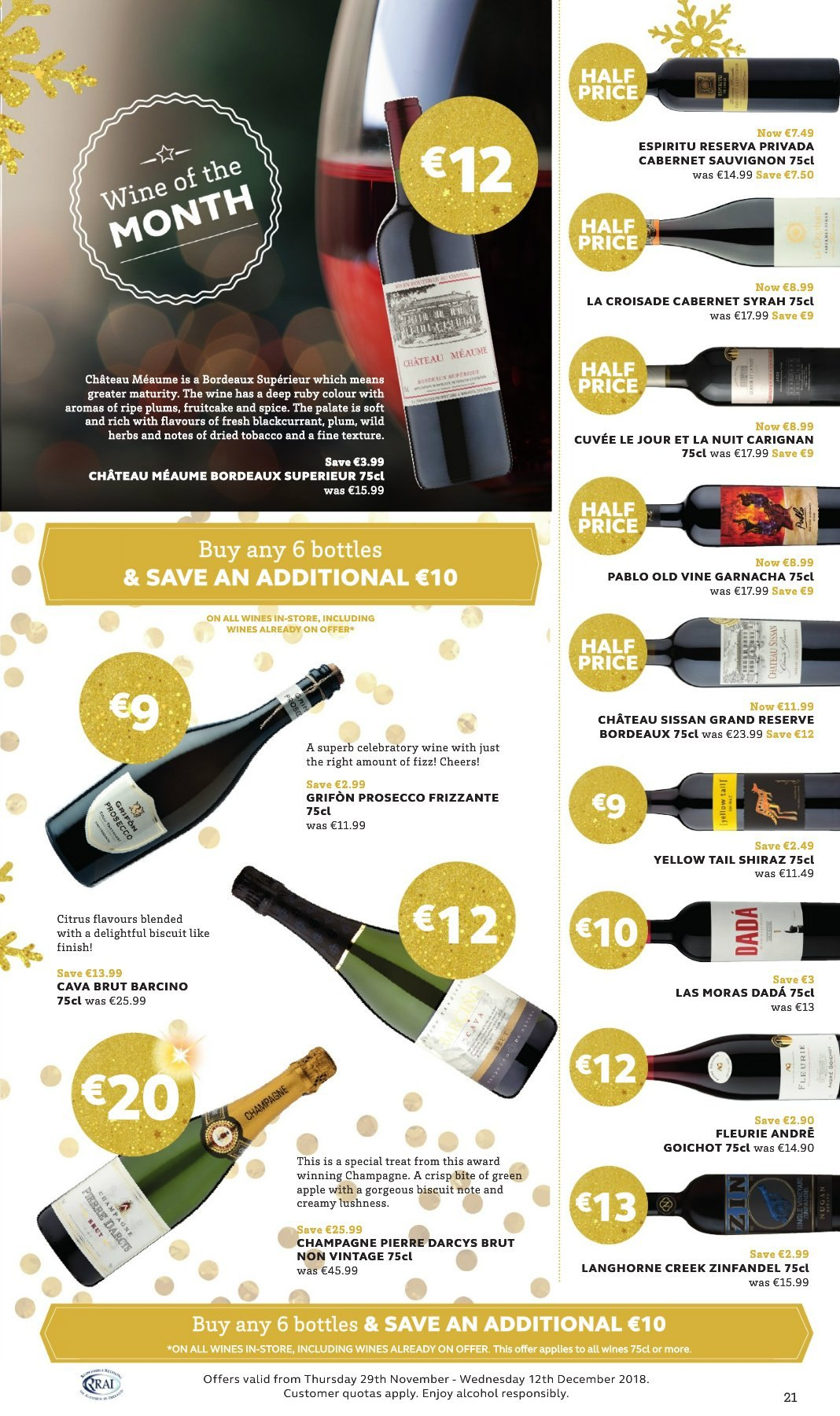SuperValu offer  - 29.11.2018 - 12.12.2018 - Sales products - plums, biscuit, herbs, Cabernet Sauvignon, champagne, prosecco, wine, Cuvée, Pablo, alcohol, Syrah, Shiraz, Brut. Page 21.