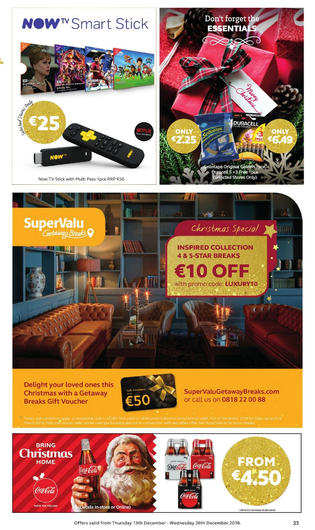 SuperValu offer  - 13.12.2018 - 26.12.2018 - Sales products - Infinity, Duracell, essentials, TV. Page 23.