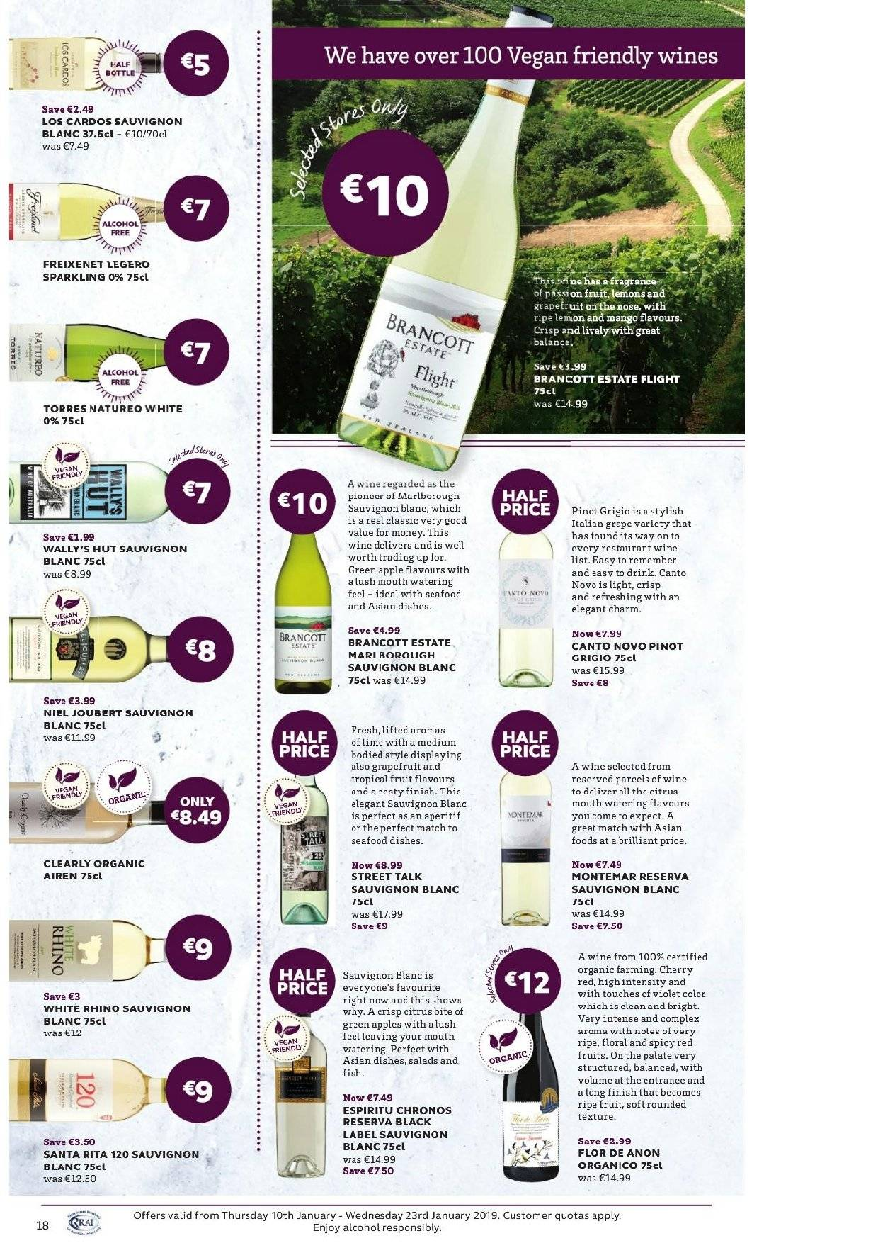 SuperValu offer  - 10.1.2019 - 23.1.2019 - Sales products - mango, apples, lemons, wine, Clearly Organic, Sauvignon Blanc. Page 35.