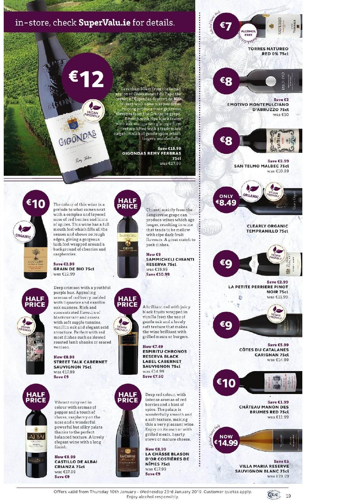SuperValu offer  - 10.1.2019 - 23.1.2019 - Sales products - cloves, Cabernet Sauvignon, wine, Clearly Organic, alcohol, Sauvignon Blanc, lamb meat. Page 37.