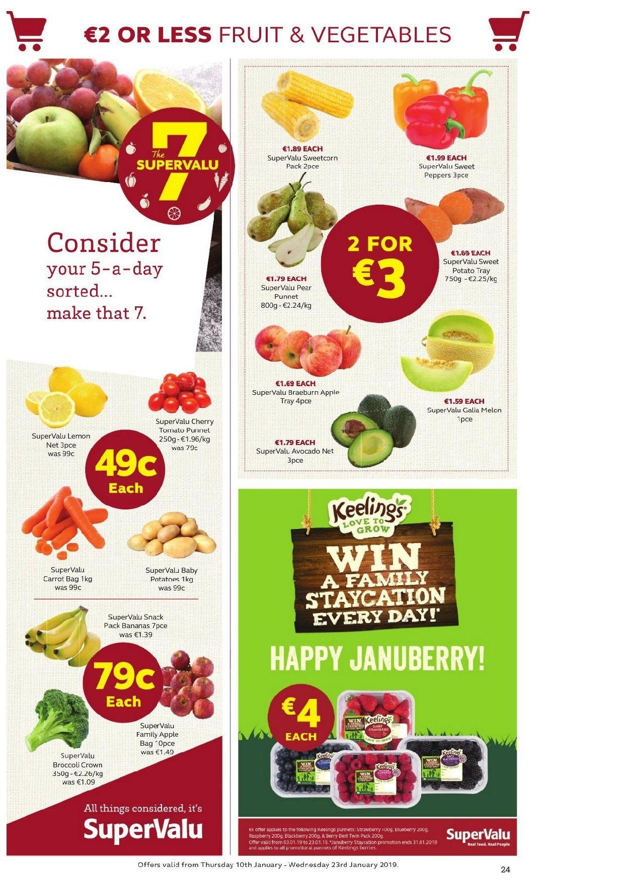SuperValu offer  - 10.1.2019 - 23.1.2019 - Sales products - broccoli, potatoes, sweet peppers, sweet potatoe, sweetcorn, peppers, avocado, bananas, pears. Page 47.