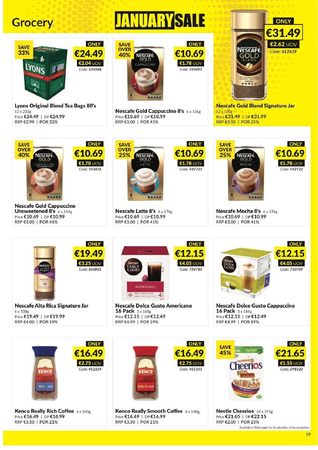 MUSGRAVE Market Place offer  - 23.12.2018 - 19.1.2019 - Sales products - Nestlé, Cheerios, cappuccino, coffee, Nescafé, Dolce Gusto. Page 20.