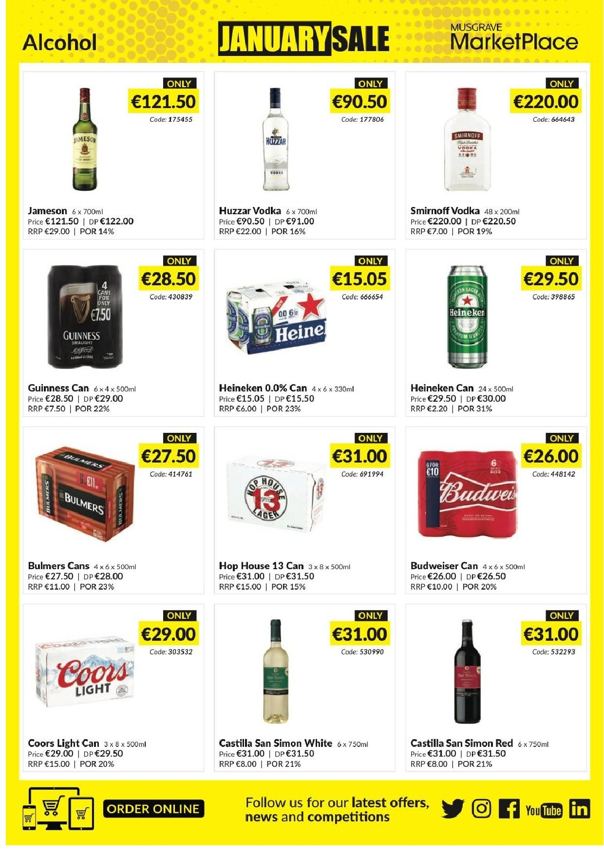 MUSGRAVE Market Place offer  - 23.12.2018 - 19.1.2019 - Sales products - Budweiser, Coors, Smirnoff, vodka, Jameson, beer, Heineken. Page 31.