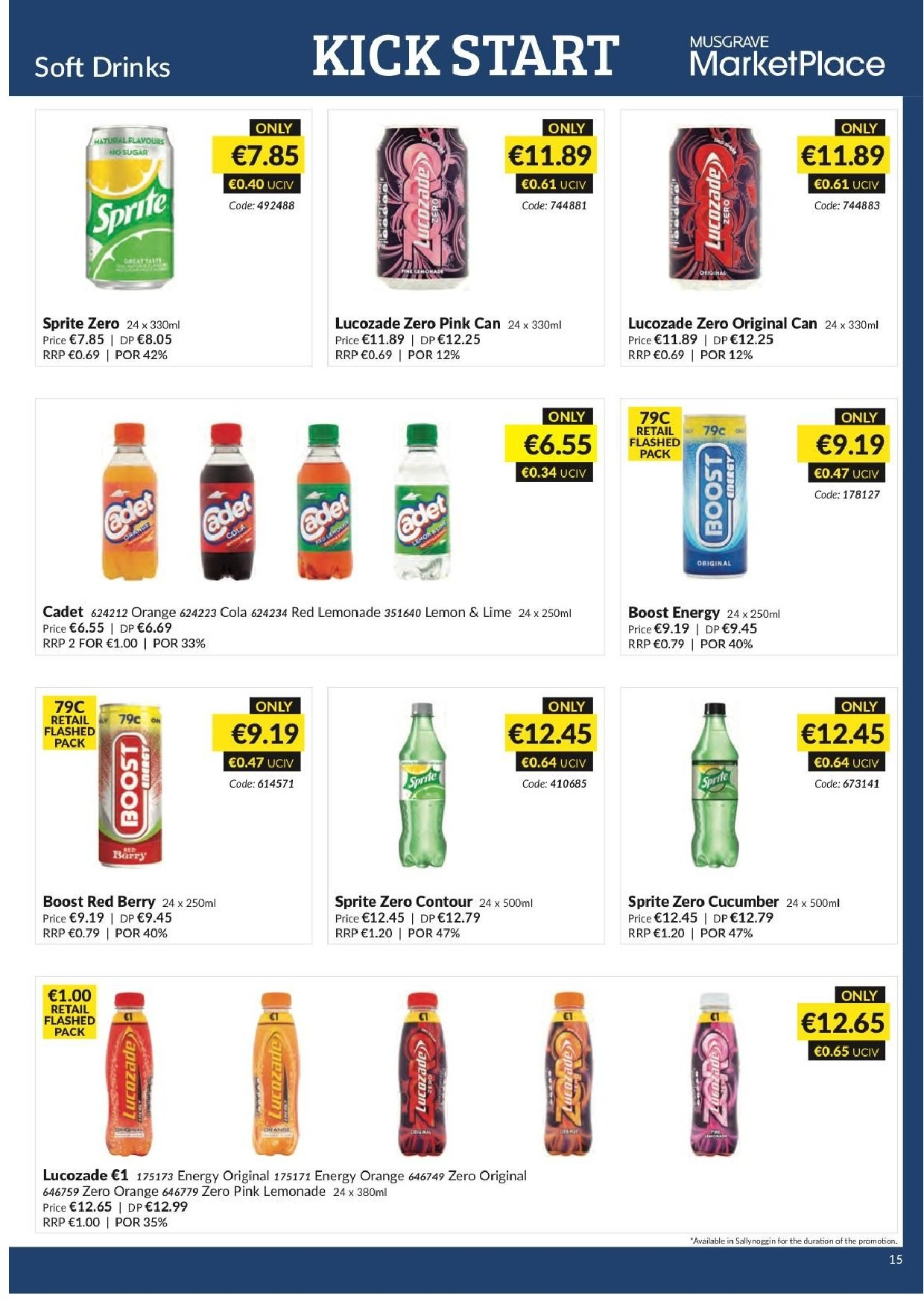 MUSGRAVE Market Place offer  - 20.1.2019 - 16.2.2019 - Sales products - cucumbers, orange, sugar, lemonade, Sprite. Page 15.