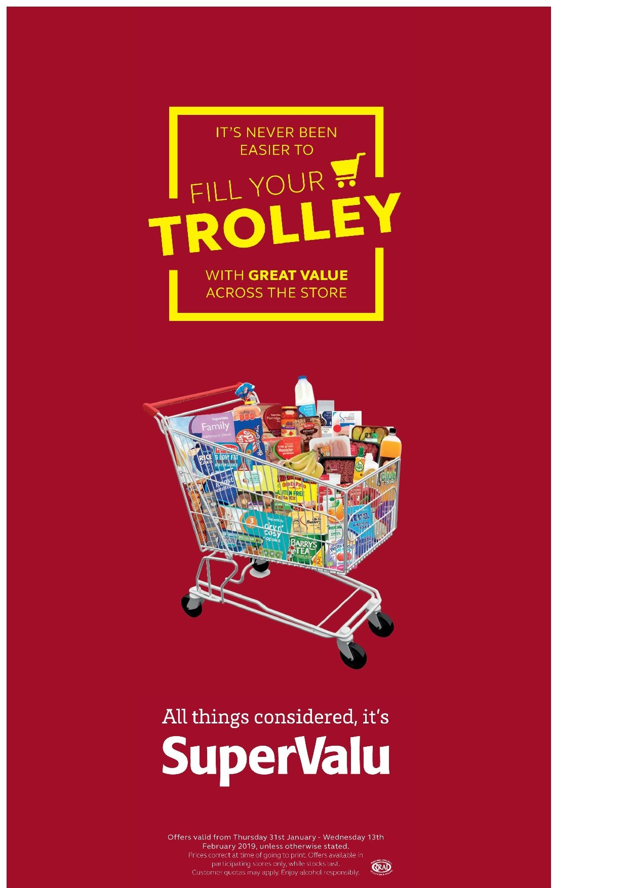 SuperValu offer  - 31.1.2019 - 13.2.2019 - Sales products - fa, trolley. Page 1.