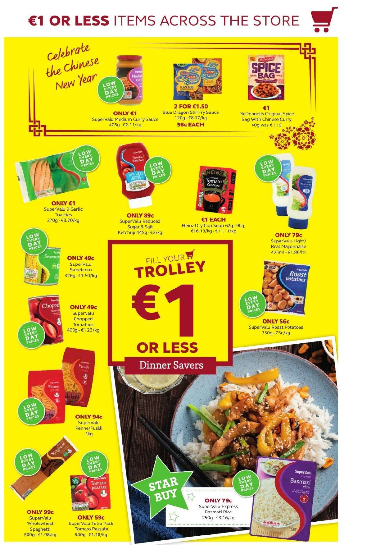 SuperValu offer  - 31.1.2019 - 13.2.2019 - Sales products - garlic, tomatoes, potatoes, soup, sauce, mayonnaise, Heinz, chopped tomatoes, basmati rice, rice, spaghetti, penne, tomato sauce, ketchup, trolley. Page 5.