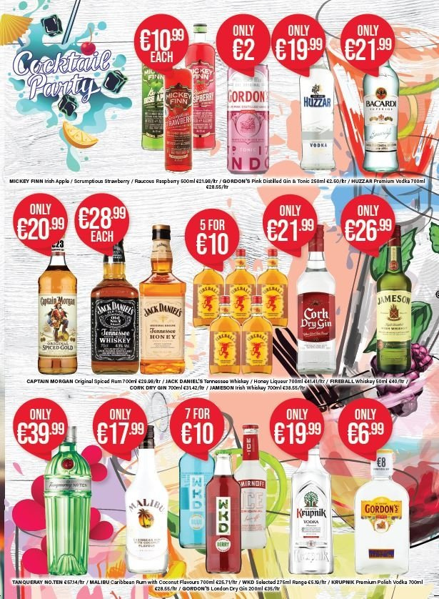 Carry Out offer  - 24.1.2019 - 6.3.2019 - Sales products - apple, captain morgan, gin, mickey, rum, spiced rum, vodka, whiskey, jack daniel's, jameson, polish, coconut, strawberry. Page 3.