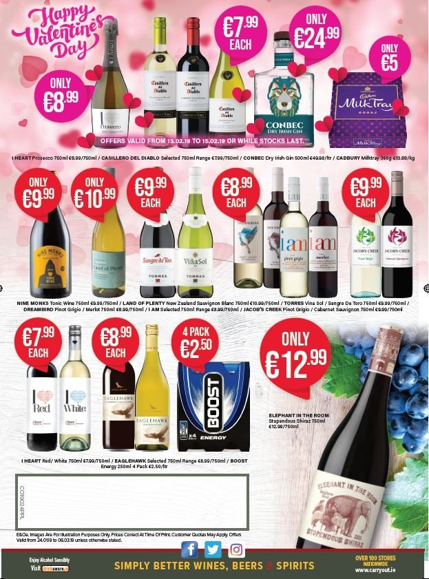 Carry Out offer  - 24.1.2019 - 6.3.2019 - Sales products - Boost, Cabernet Sauvignon, wine, Merlot, Shiraz, Pinot Grigio, gin. Page 4.