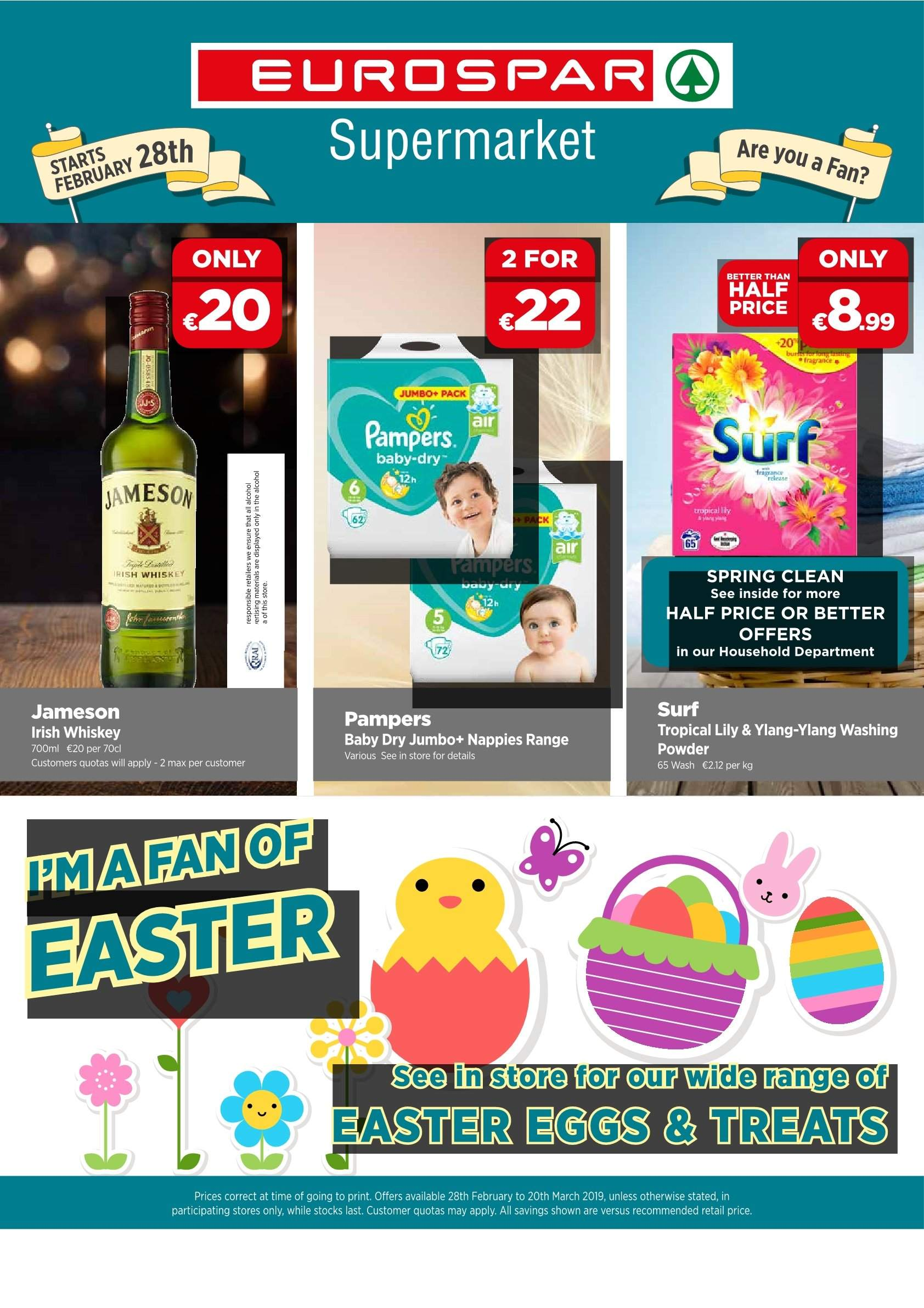 EUROSPAR offer  - 28.2.2019 - 20.3.2019 - Sales products - eggs, fragrance, whiskey, jameson, powder, pampers. Page 1.