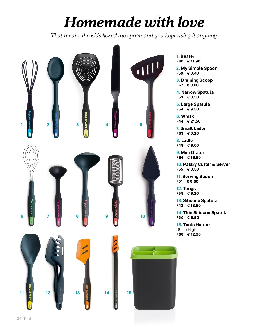 Tupperware offer  - Sales products - spatula, spoon, handy grater. Page 34.