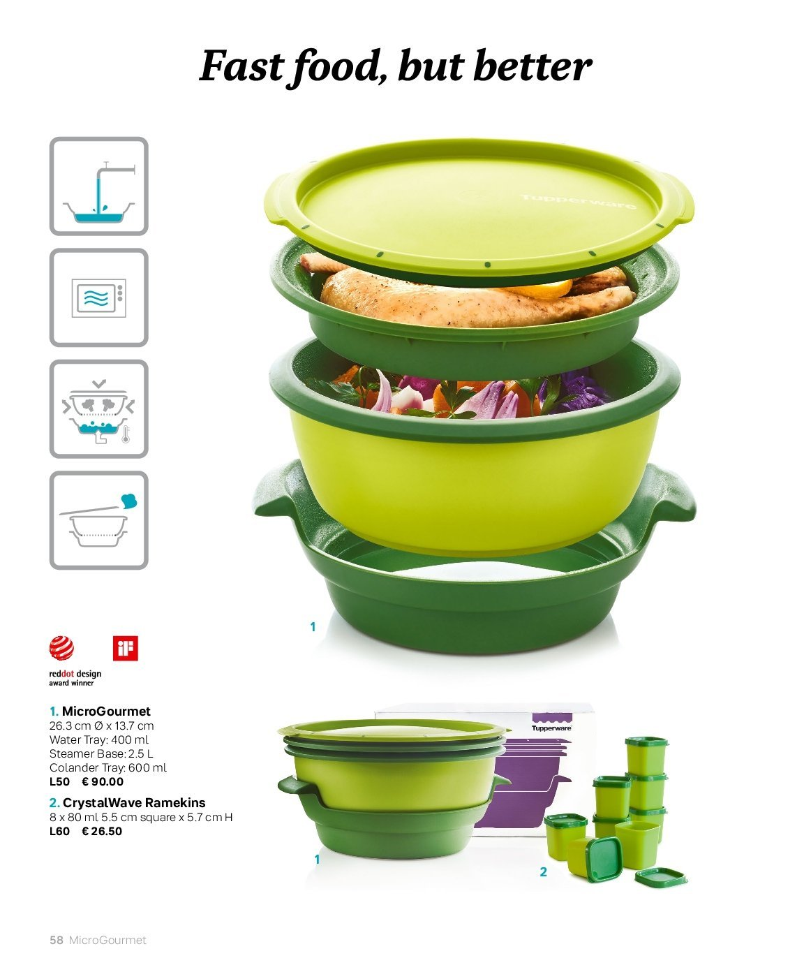 Tupperware offer  - Sales products - colander, tray, food steamer. Page 58.