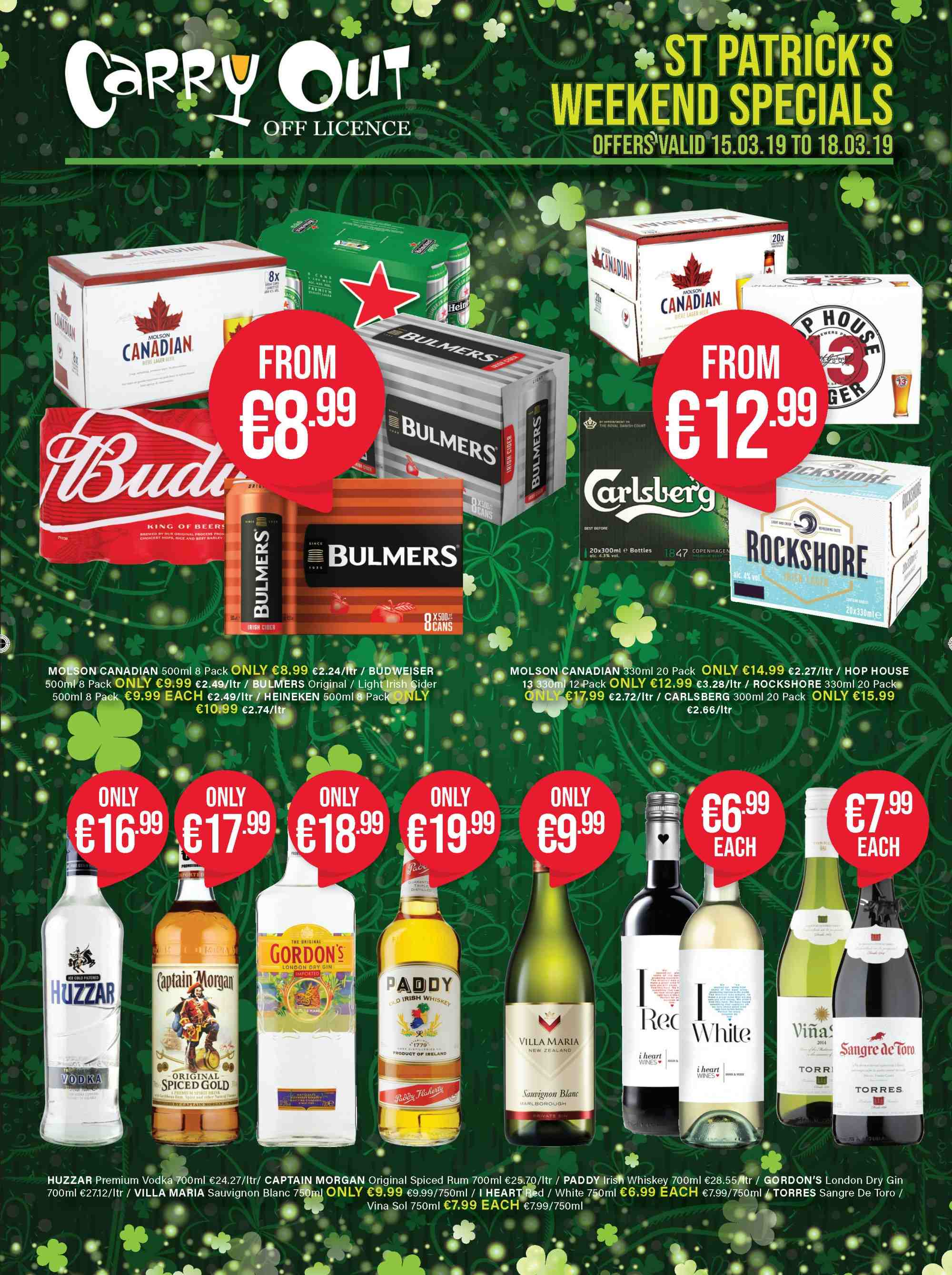 Carry Out offer  - 7.3.2019 - 17.4.2019 - Sales products - beer, captain morgan, gin, rum, spiced rum, vodka, whiskey. Page 1.