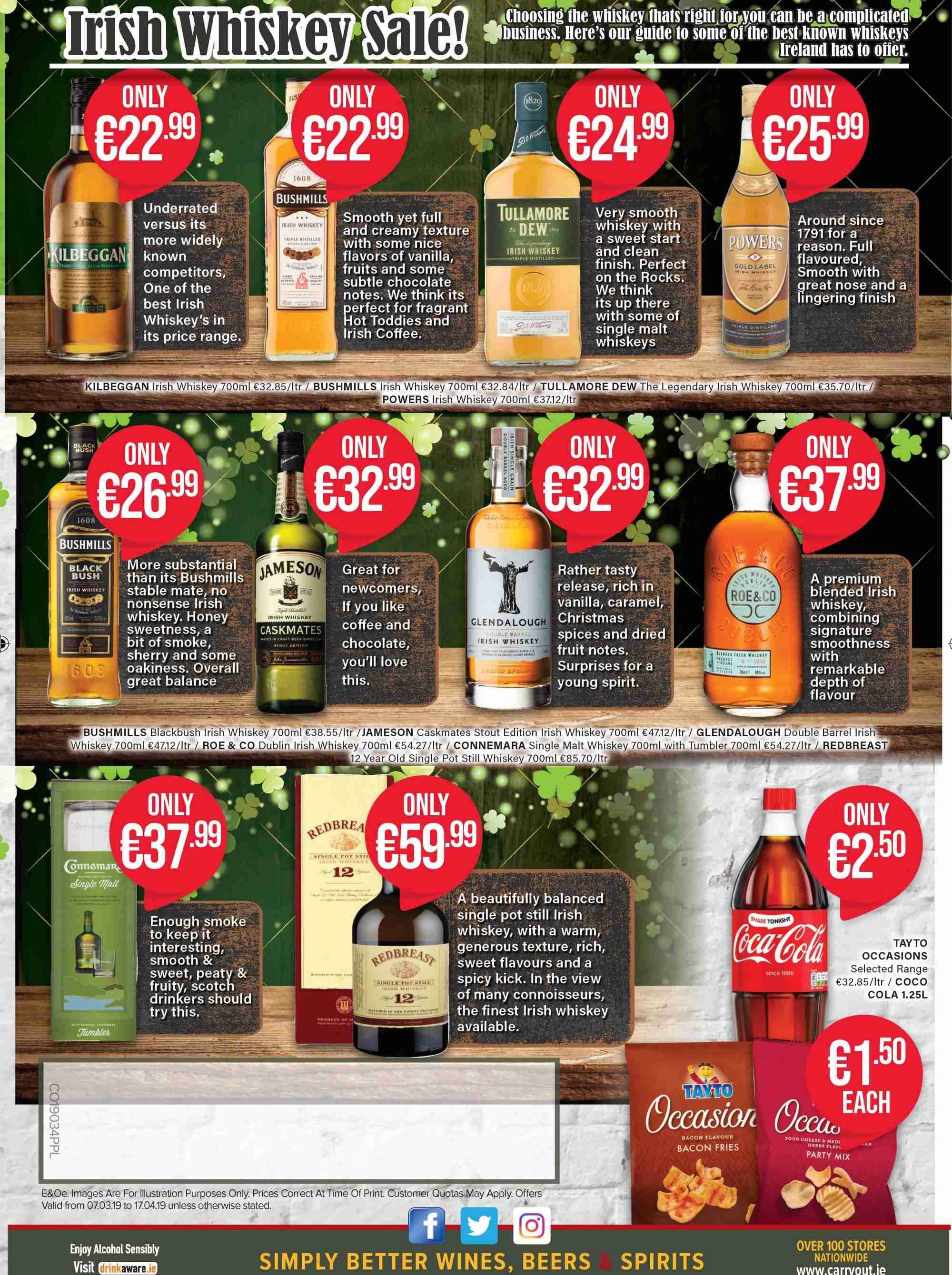 Carry Out offer  - 7.3.2019 - 17.4.2019 - Sales products - TAYTO, wine, alcohol, sherry, whiskey, Jameson. Page 4.