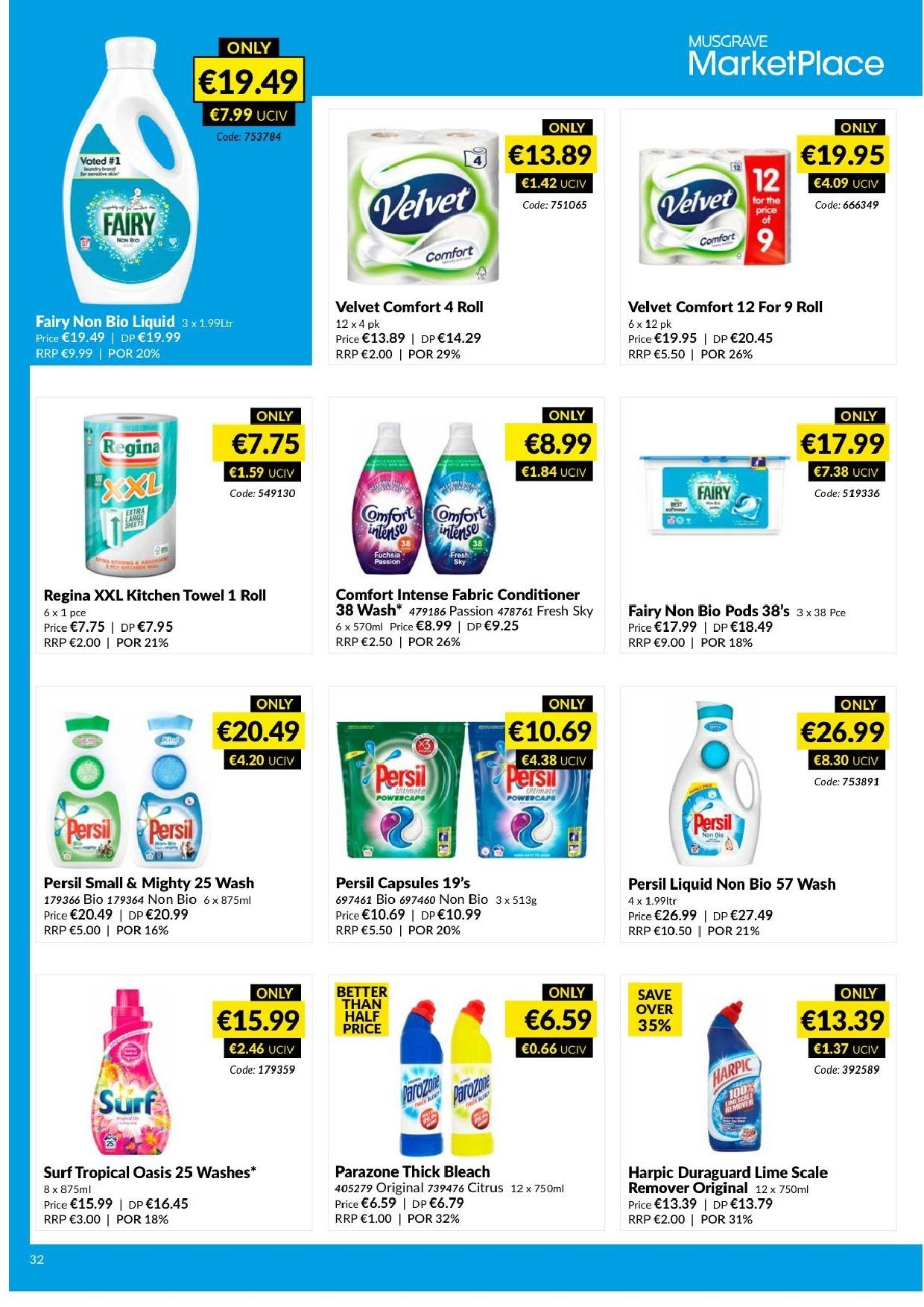 MUSGRAVE Market Place offer  - 17.3.2019 - 13.4.2019 - Sales products - thick bleach, remover, bleach, kitchen towel. Page 32.