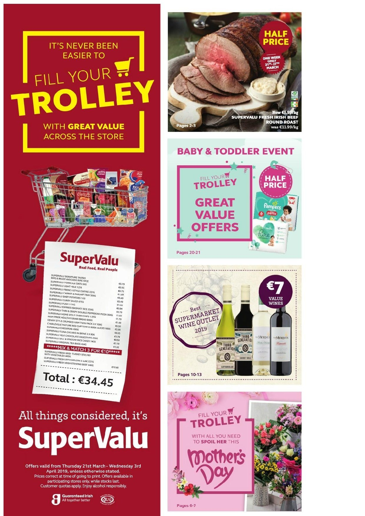 SuperValu offer  - 21.3.2019 - 3.4.2019 - Sales products - beef meat, trolley. Page 1.