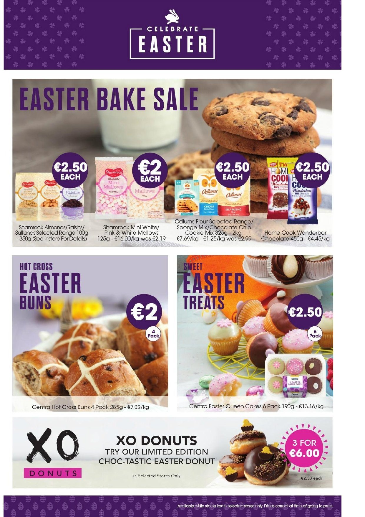 Centra offer  - 11.4.2019 - 24.4.2019 - Sales products - almonds, cream, flour, raisins, sultanas, chocolate, donuts, sponge, sweet, easter. Page 9.