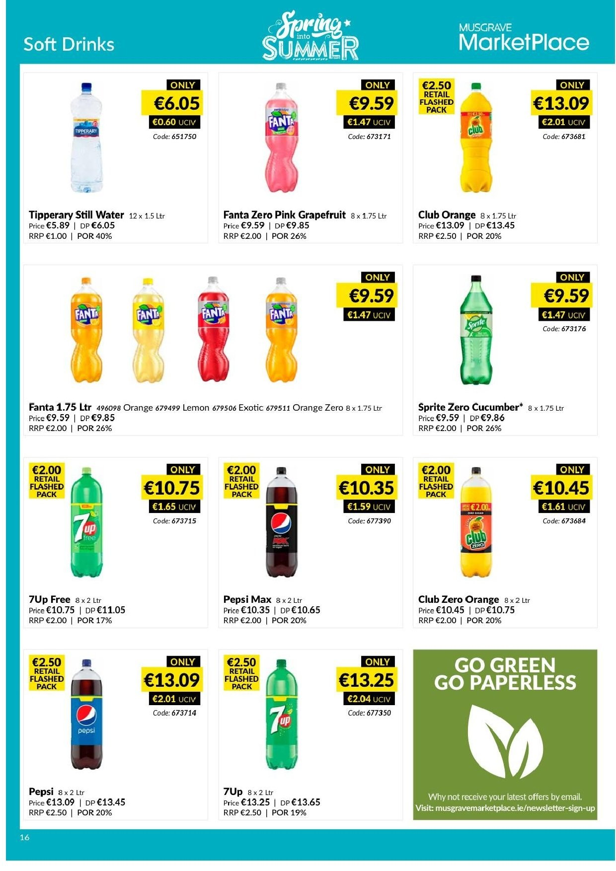 MUSGRAVE Market Place offer  - 14.4.2019 - 11.5.2019 - Sales products - cucumbers, orange, lemon, Sprite, Pepsi, Fanta, Pepsi Max, water, ring. Page 18.