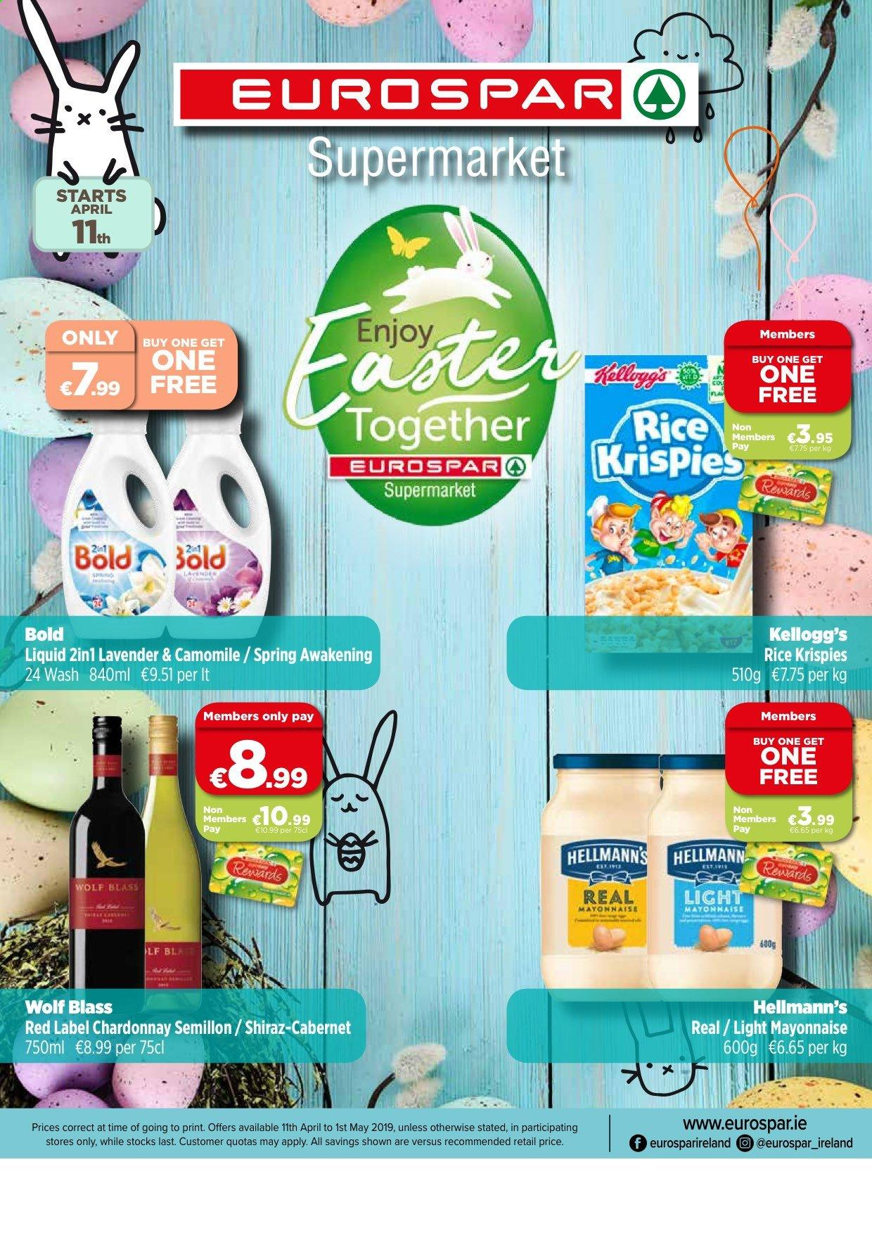 EUROSPAR offer  - 11.4.2019 - 1.5.2019 - Sales products - mayonnaise, rice, chardonnay. Page 1.