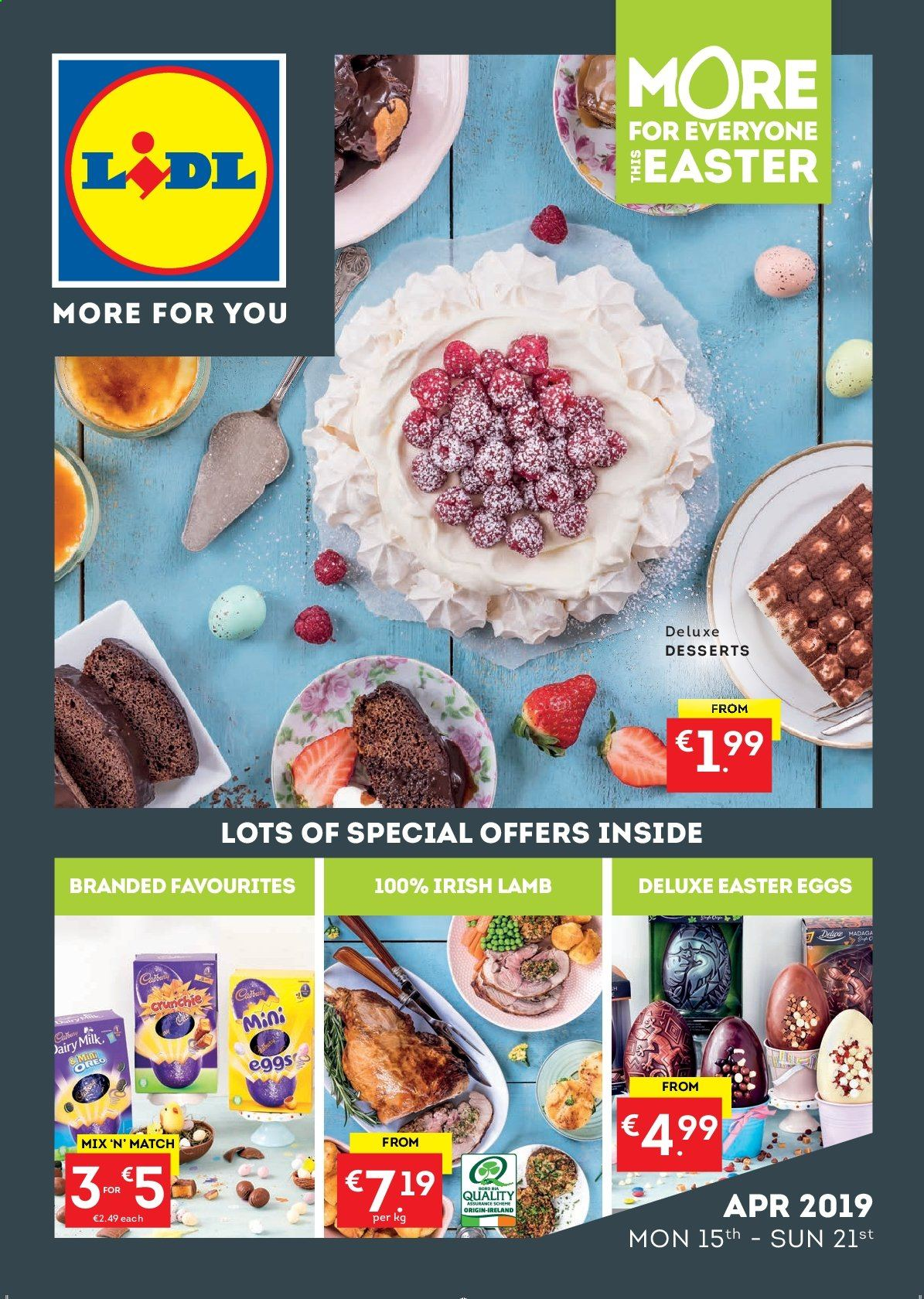Lidl offer  - 15.4.2019 - 21.4.2019 - Sales products - eggs, lamb meat, milk, easter. Page 1.