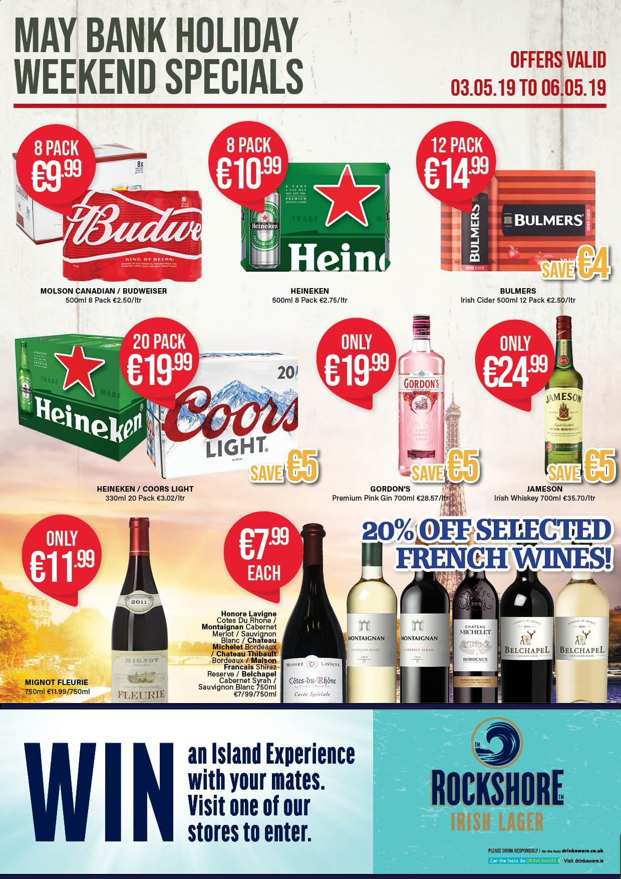 Carry Out offer  - 18.4.2019 - 29.5.2019 - Sales products - Budweiser, Coors, Cabernet Sauvignon, wine, Merlot, Shiraz, Sauvignon Blanc, apple cider, gin, whiskey, Jameson, Gordon's, Heineken. Page 5.