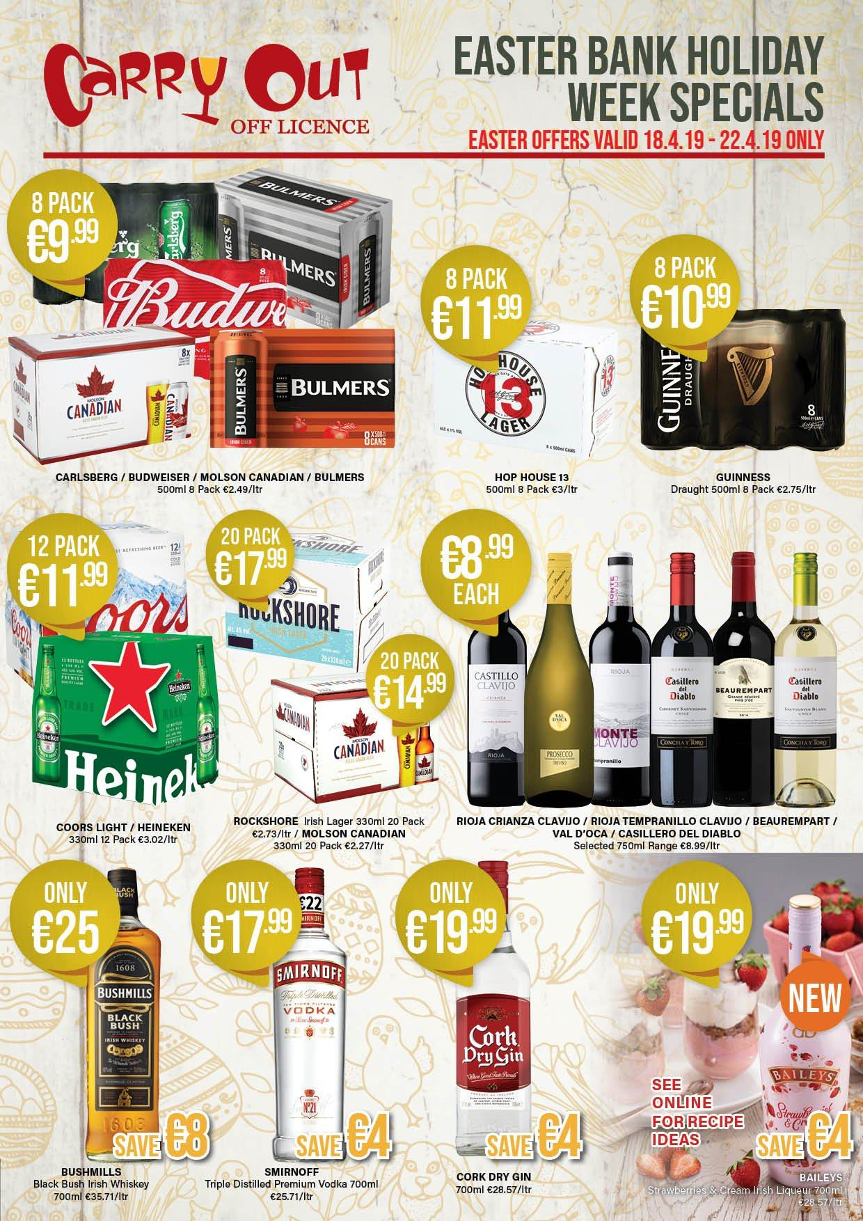 Carry Out offer  - 18.4.2019 - 29.5.2019 - Sales products - budweiser, gin, smirnoff, vodka, whiskey, baileys, easter. Page 1.