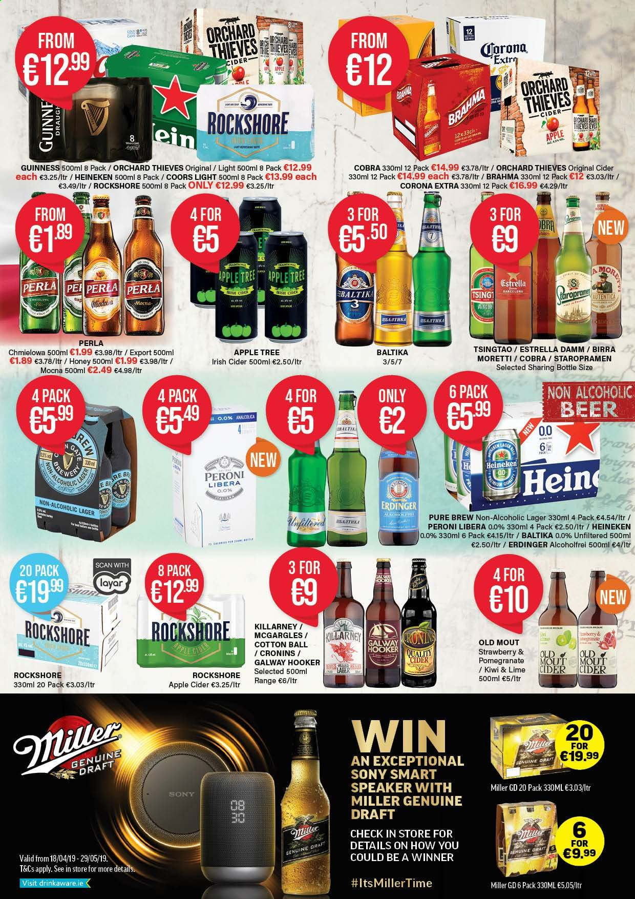 Carry Out offer  - 18.4.2019 - 29.5.2019 - Sales products - apple cider, apple, beer, bottle, corona extra, cotton, kiwi, sony, speaker, tree, honey. Page 2.