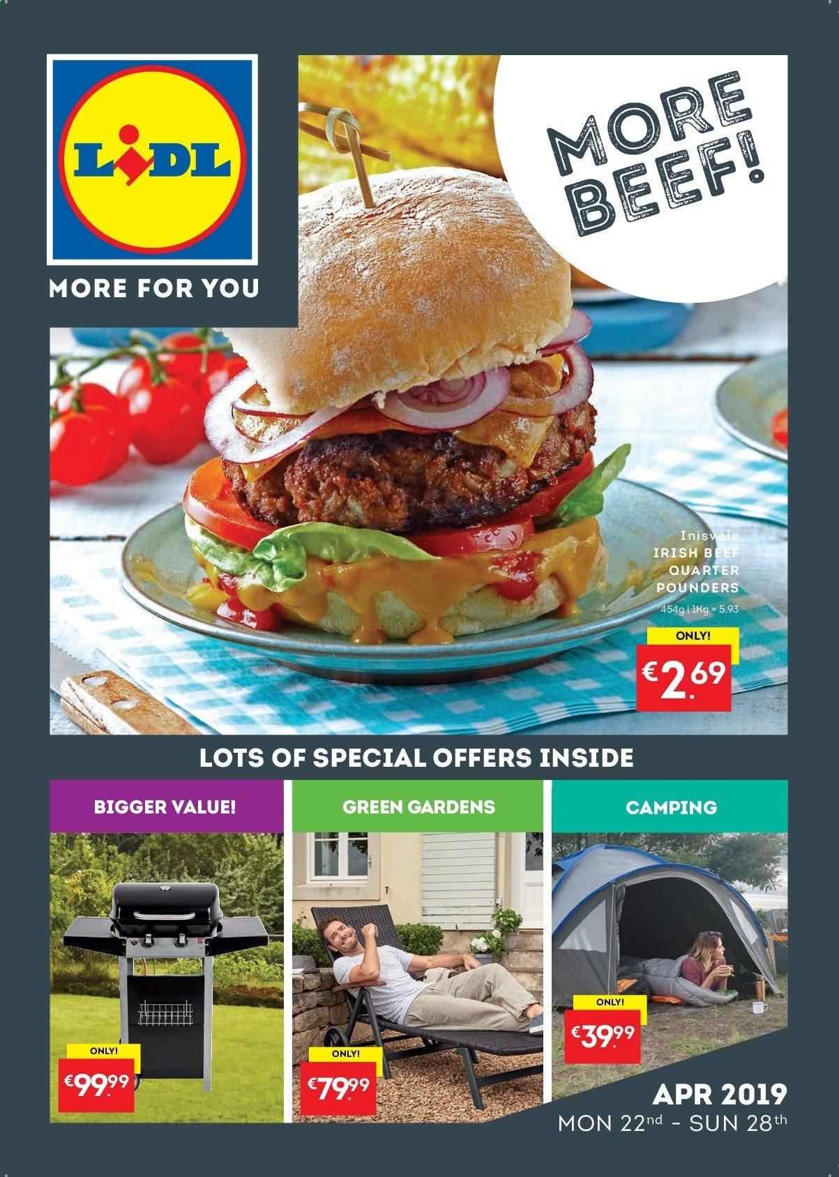 Lidl offer  - 22.4.2019 - 28.4.2019 - Sales products - beef meat. Page 1.