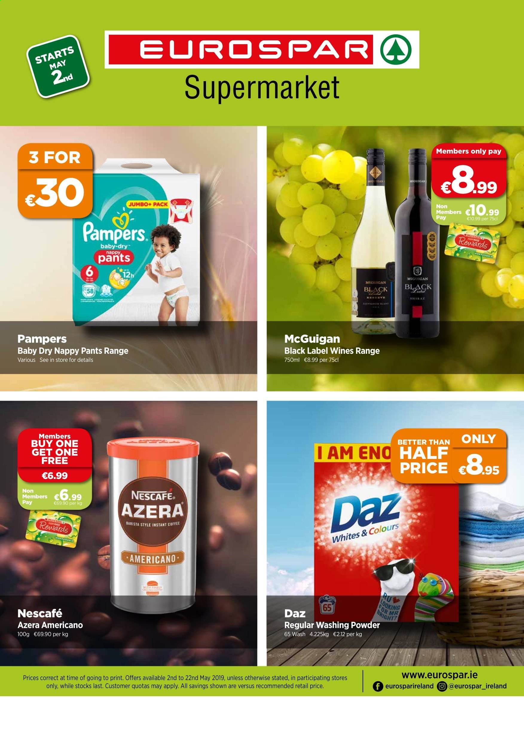 EUROSPAR offer  - 2.5.2019 - 22.5.2019 - Sales products - coffee, instant coffee, powder, pampers, pants, nescafé, washing powder. Page 1.