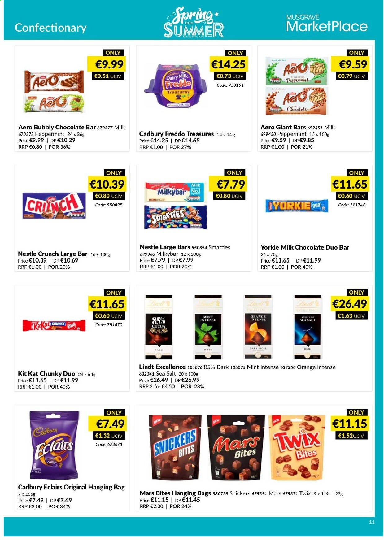 MUSGRAVE Market Place offer  - 12.5.2019 - 8.6.2019 - Sales products - orange, milk chocolate, Nestlé, chocolate, Lindt, Snickers, Twix, Mars, Smarties, KitKat, cocoa, salt, sea salt, ring. Page 8.