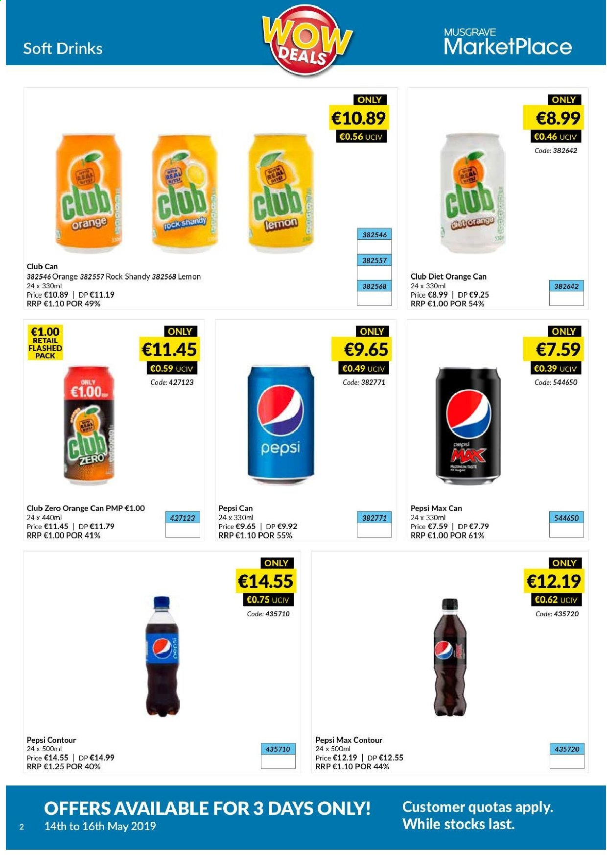 MUSGRAVE Market Place offer  - 14.5.2019 - 16.5.2019 - Sales products - orange, Pepsi, Pepsi Max. Page 2.