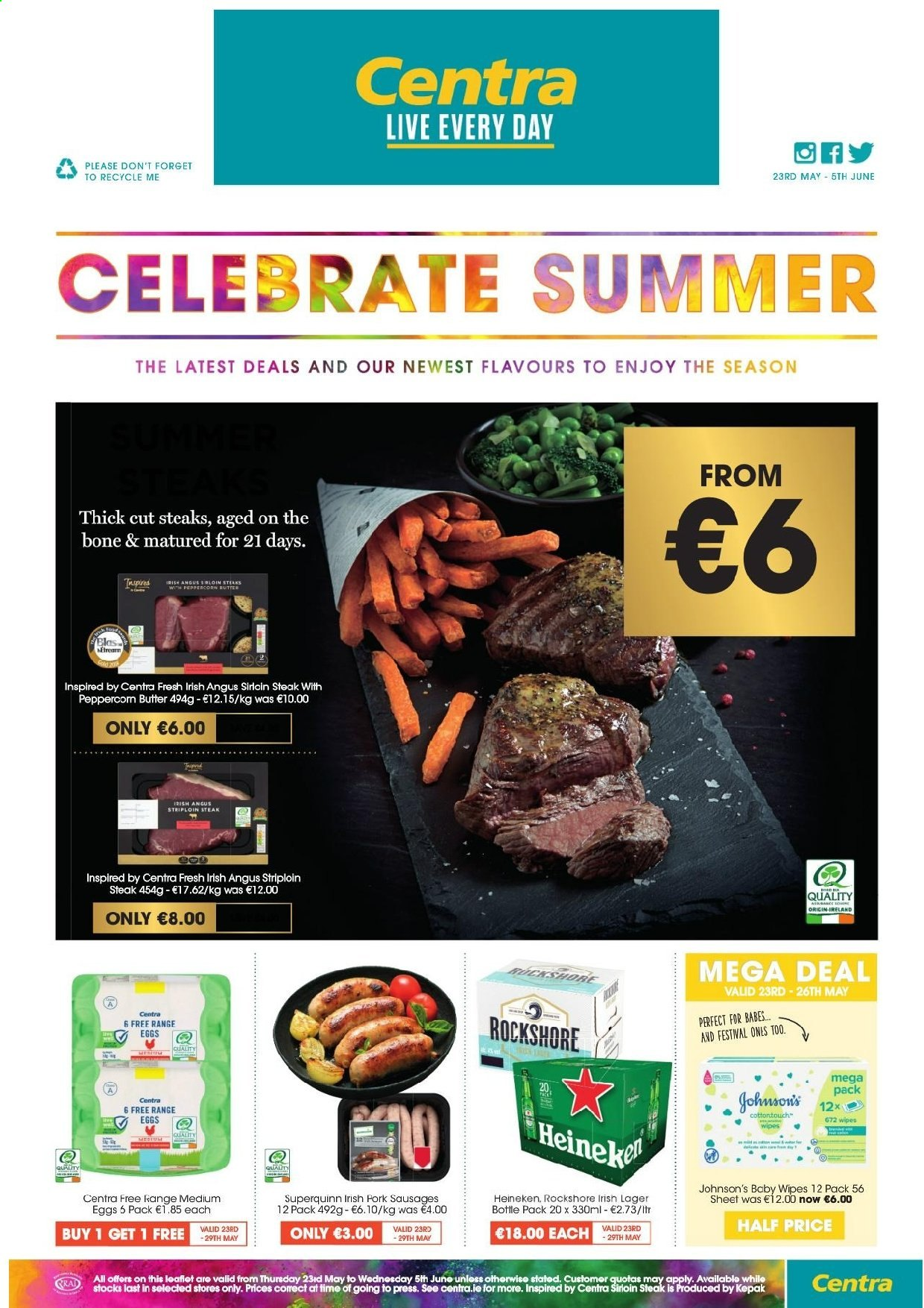 Centra offer  - 23.5.2019 - 5.6.2019 - Sales products - bottle, butter, eggs, sausages, sheet, wipes, pork meat, steak, baby wipes. Page 1.