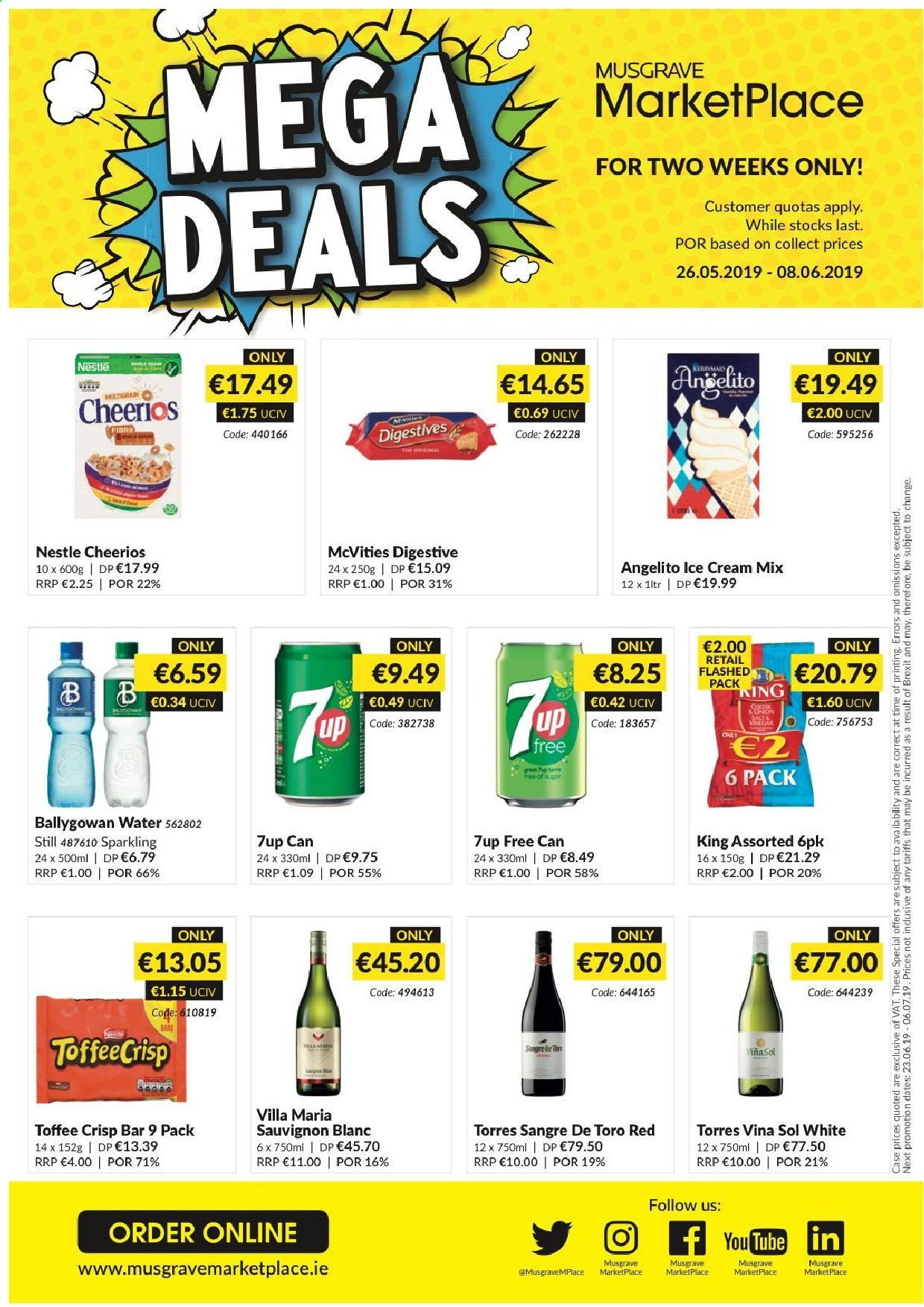 MUSGRAVE Market Place offer  - 26.5.2019 - 8.6.2019 - Sales products - ice cream, Nestlé, toffee, Cheerios, water, sauvignon. Page 1.