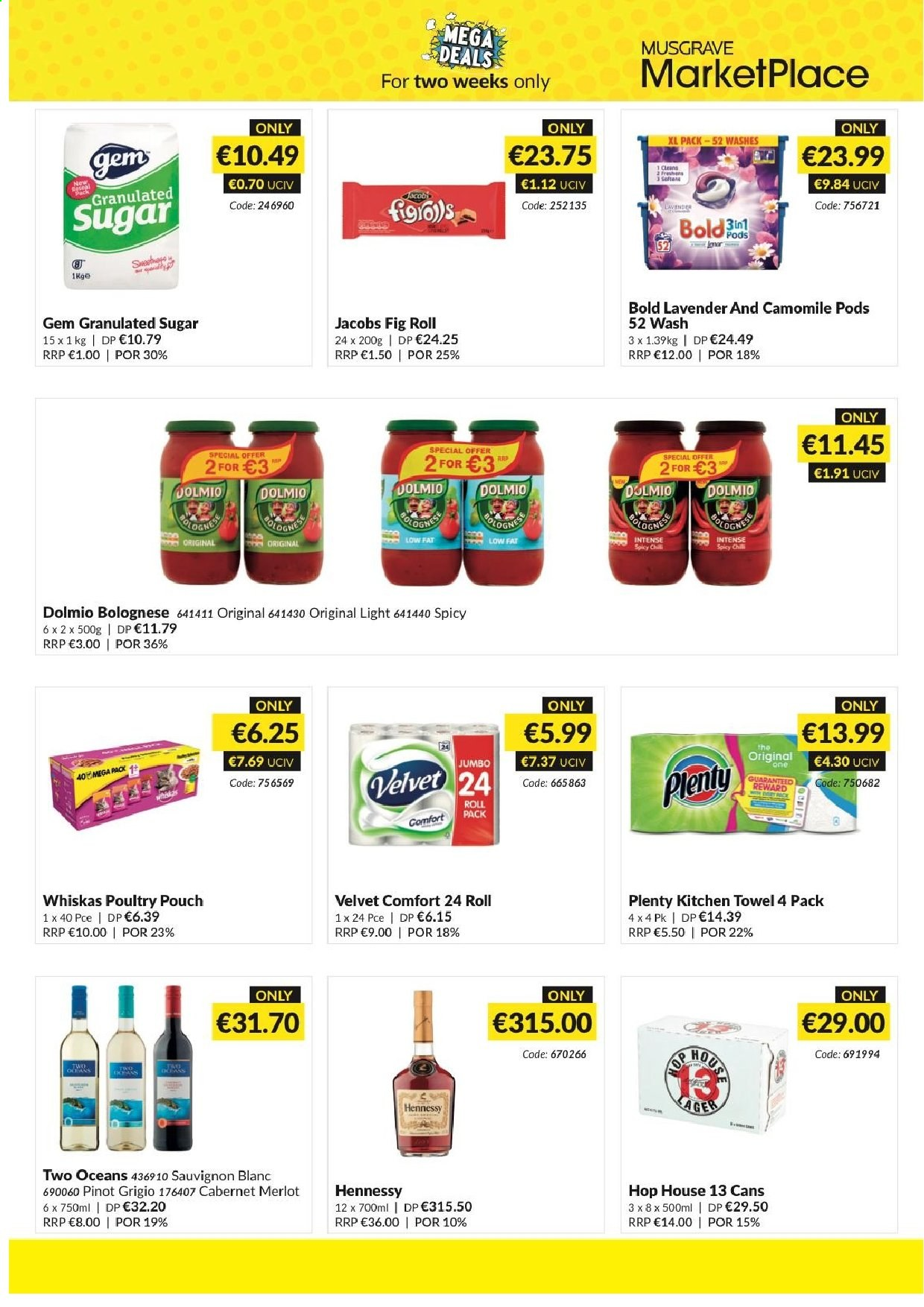MUSGRAVE Market Place offer  - 26.5.2019 - 8.6.2019 - Sales products - granulated sugar, sugar, Jacobs, merlot, sauvignon, Hennessy, kitchen towel. Page 2.