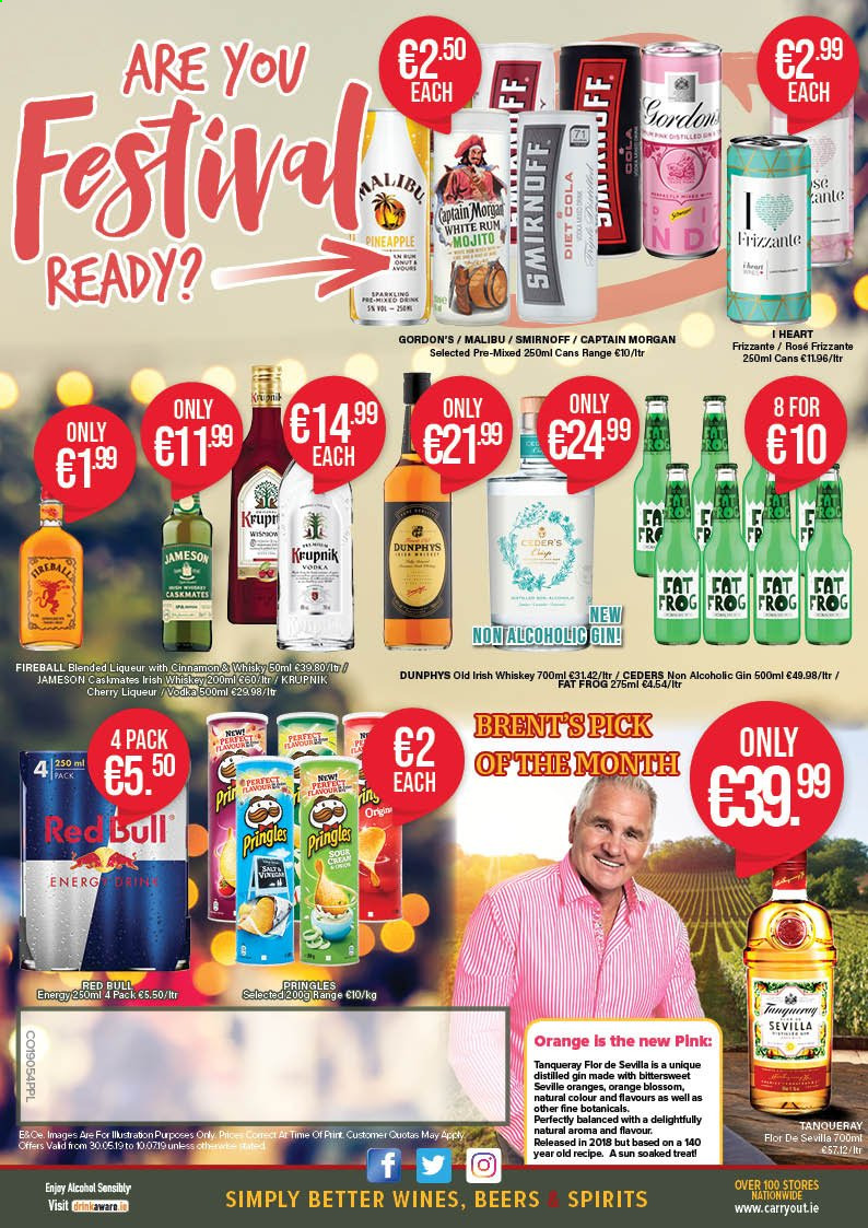 Carry Out offer  - 30.5.2019 - 10.7.2019 - Sales products - captain morgan, gin, liqueur, rum, smirnoff, whiskey, whisky, jameson, pineapple, pringles, oranges. Page 4.