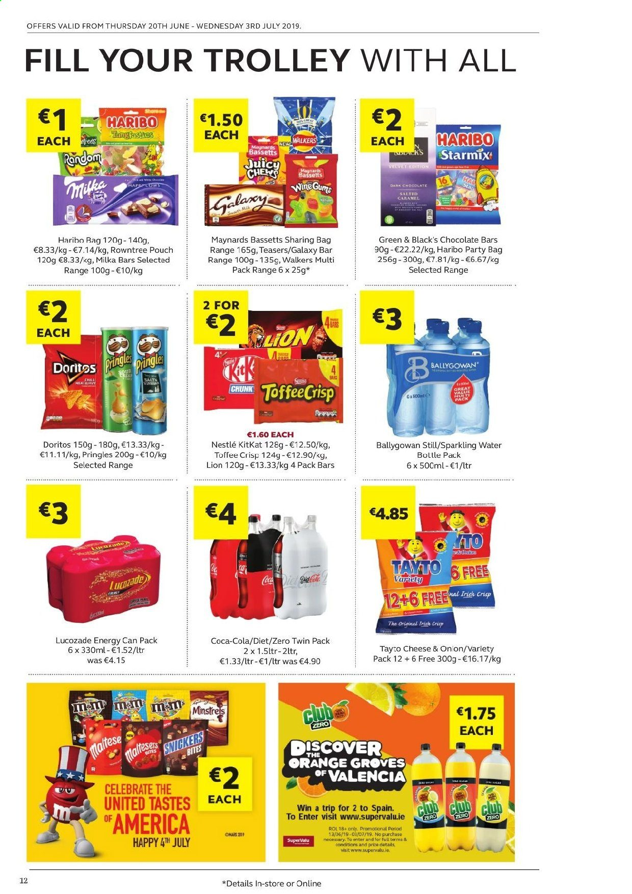 SuperValu offer  - 20.6.2019 - 3.7.2019 - Sales products - orange, milk, Nestlé, chocolate, Haribo, Snickers, KitKat, toffee, chewing gum, Doritos, Pringles, TAYTO, Coca-Cola, Lucozade, Ballygowan, trolley, Samsung Galaxy. Page 12.