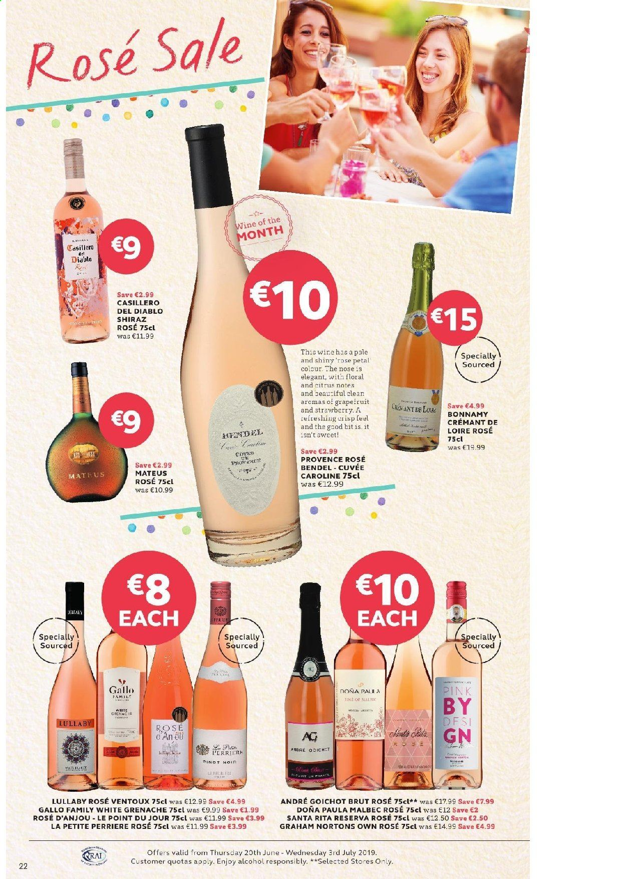 SuperValu offer  - 20.6.2019 - 3.7.2019 - Sales products - Perrier, wine, Cuvée, Gallo Family, alcohol, Shiraz, Grenache, Brut. Page 22.