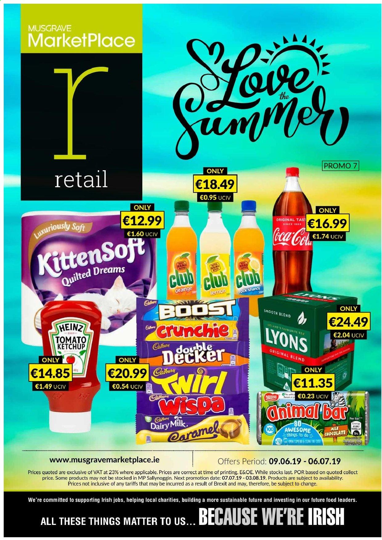 MUSGRAVE Market Place offer  - 9.6.2019 - 6.7.2019 - Sales products - tomatoes, orange, milk chocolate, Nestlé, chocolate, Heinz, ketchup. Page 1.