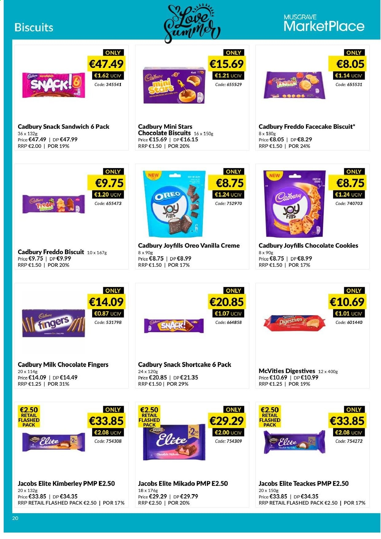 MUSGRAVE Market Place offer  - 9.6.2019 - 6.7.2019 - Sales products - sandwich, Oreo, biscuits, cookies, milk chocolate, chocolate, chocolate cookies, snack, Jacobs. Page 21.
