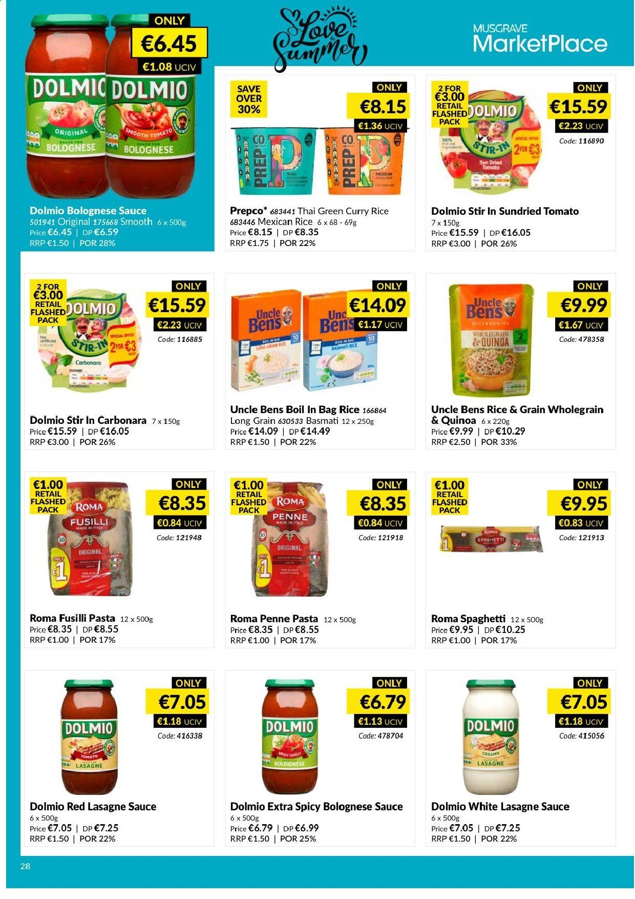 MUSGRAVE Market Place offer  - 9.6.2019 - 6.7.2019 - Sales products - tomatoes, curry, sauce, basmati rice, lasagne, quinoa, rice, spaghetti, pasta, sun dried tomato. Page 33.