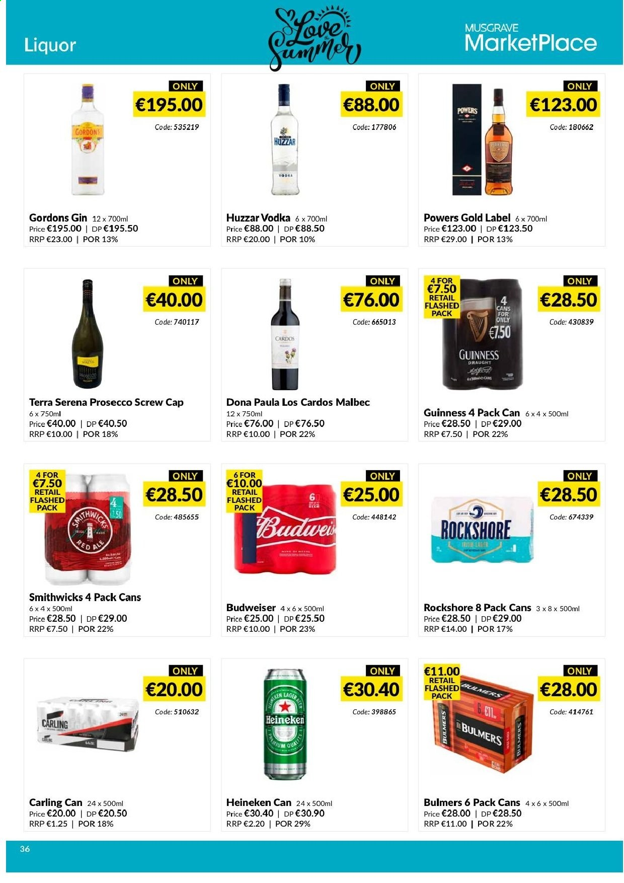MUSGRAVE Market Place offer  - 9.6.2019 - 6.7.2019 - Sales products - Budweiser, prosecco, gin, vodka, liquor, beer, Heineken. Page 36.