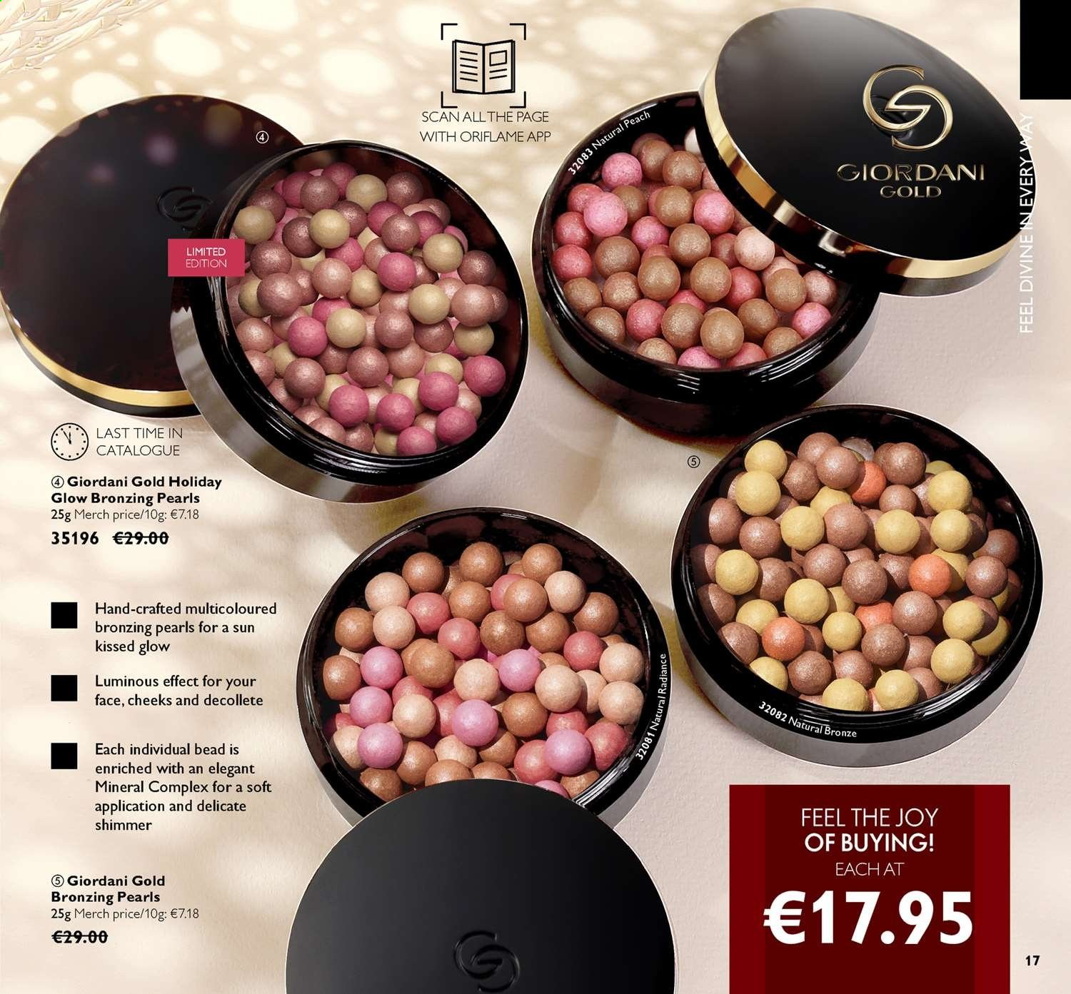 Oriflame offer  - 14.6.2019 - 4.7.2019 - Sales products - bronzing pearls, giordani gold. Page 17.