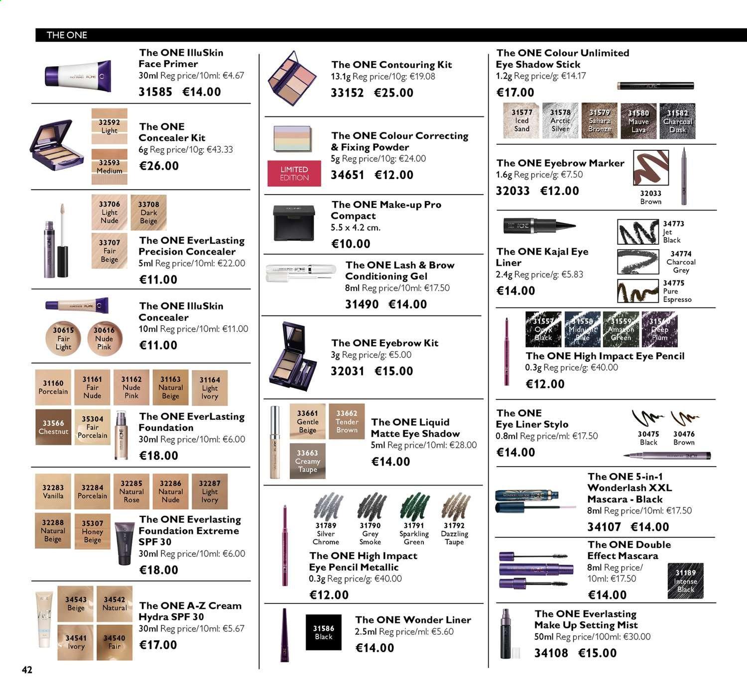 Oriflame offer  - 14.6.2019 - 4.7.2019 - Sales products - concealer, cream, eye liner, eyeshadow, foundation, makeup, mascara, stick, honey, powder, charcoal, chestnuts, marker. Page 42.