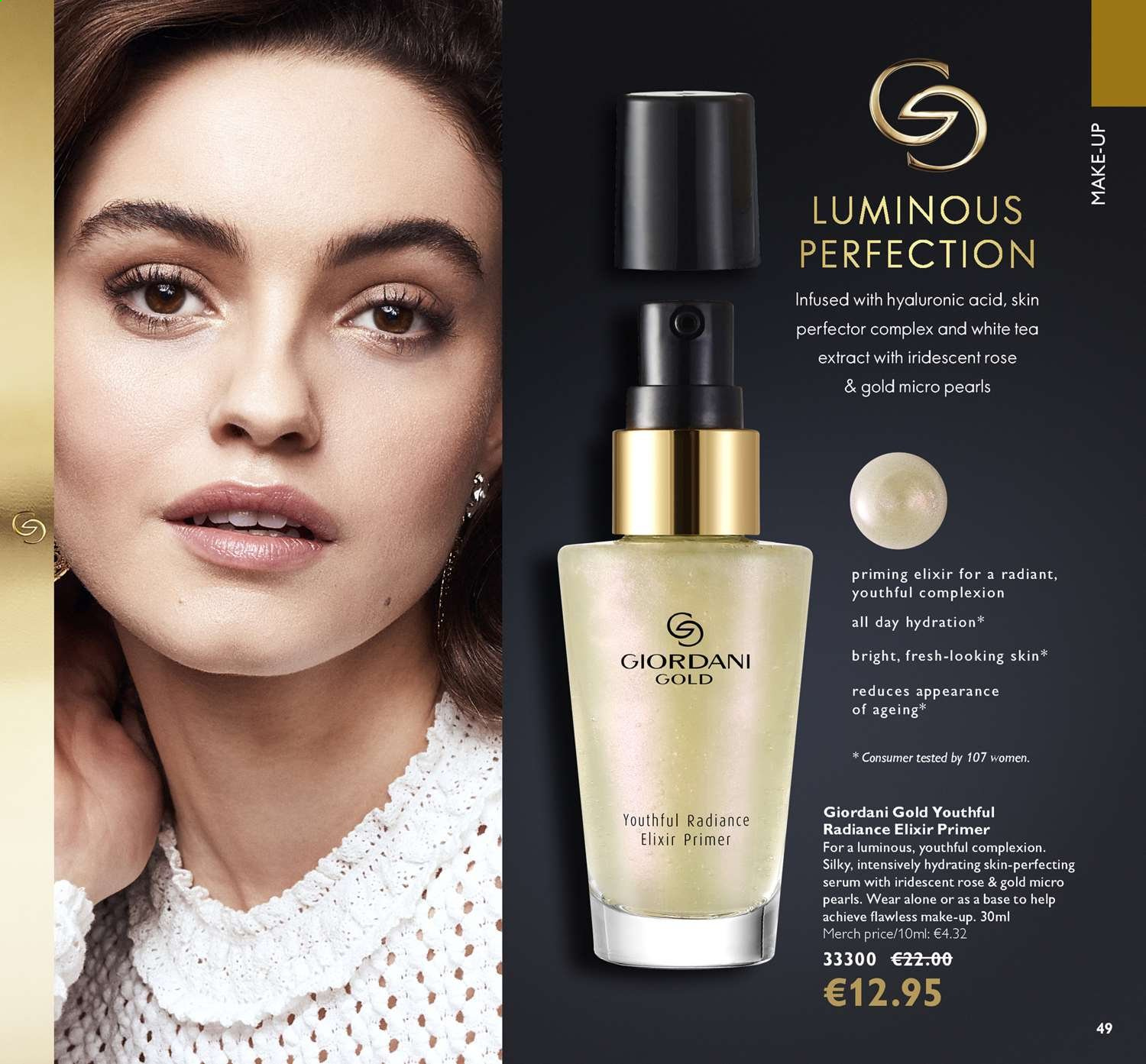 Oriflame offer  - 14.6.2019 - 4.7.2019 - Sales products - giordani gold, makeup, serum, tea, acid. Page 49.