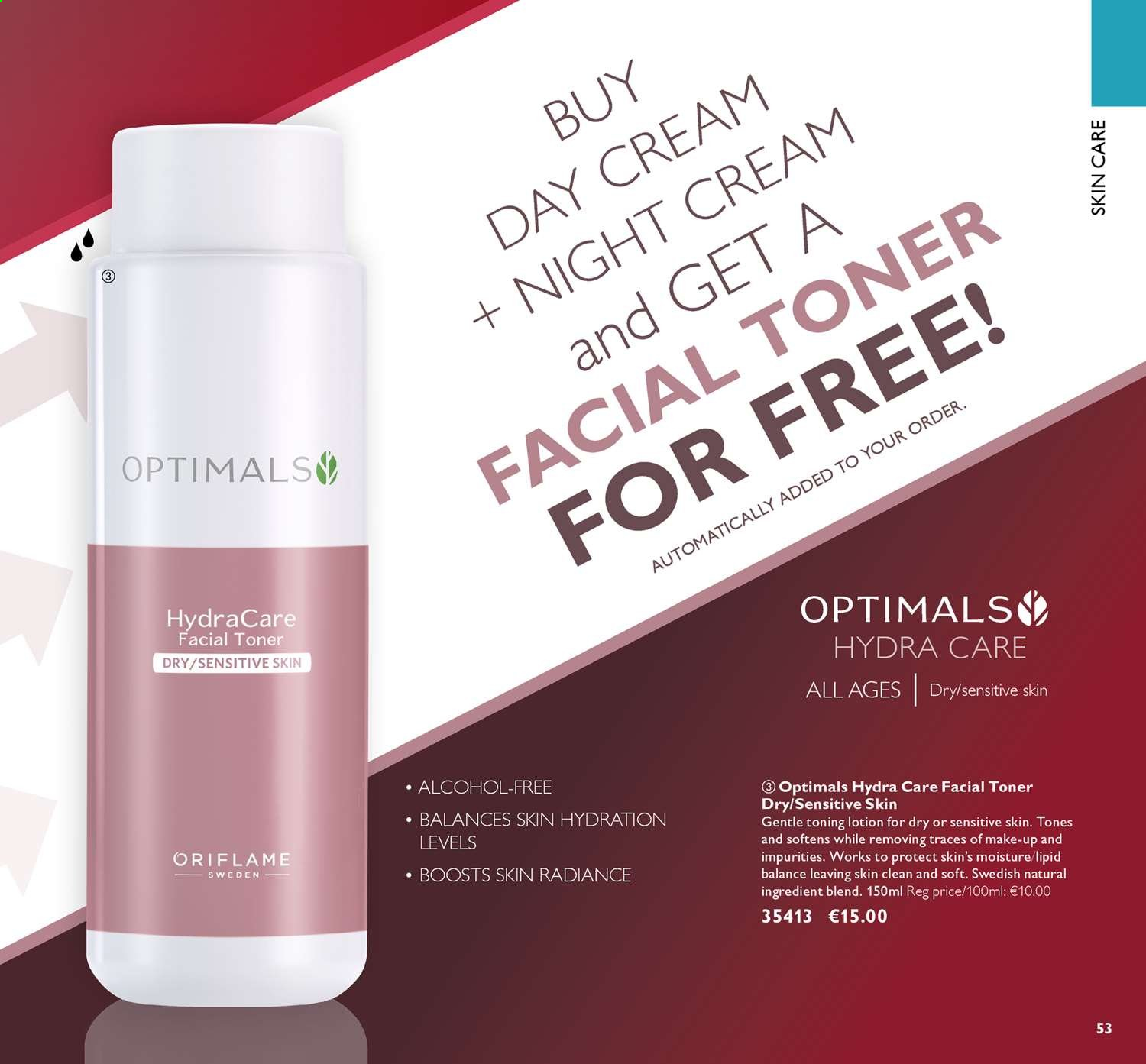 Oriflame offer  - 14.6.2019 - 4.7.2019 - Sales products - cream, day cream, makeup, moisture, toner, night cream. Page 53.