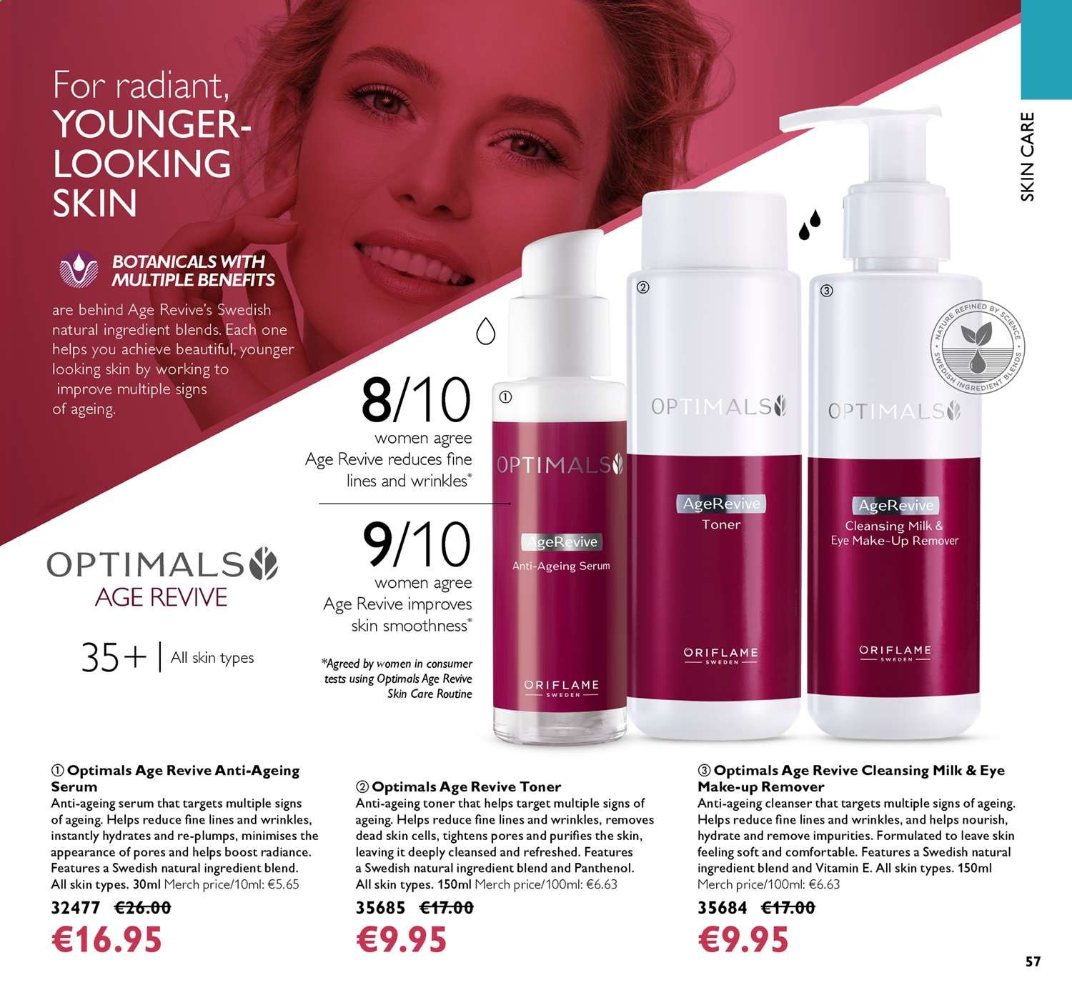 Oriflame offer  - 14.6.2019 - 4.7.2019 - Sales products - cleanser, makeup, milk, serum, toner. Page 57.