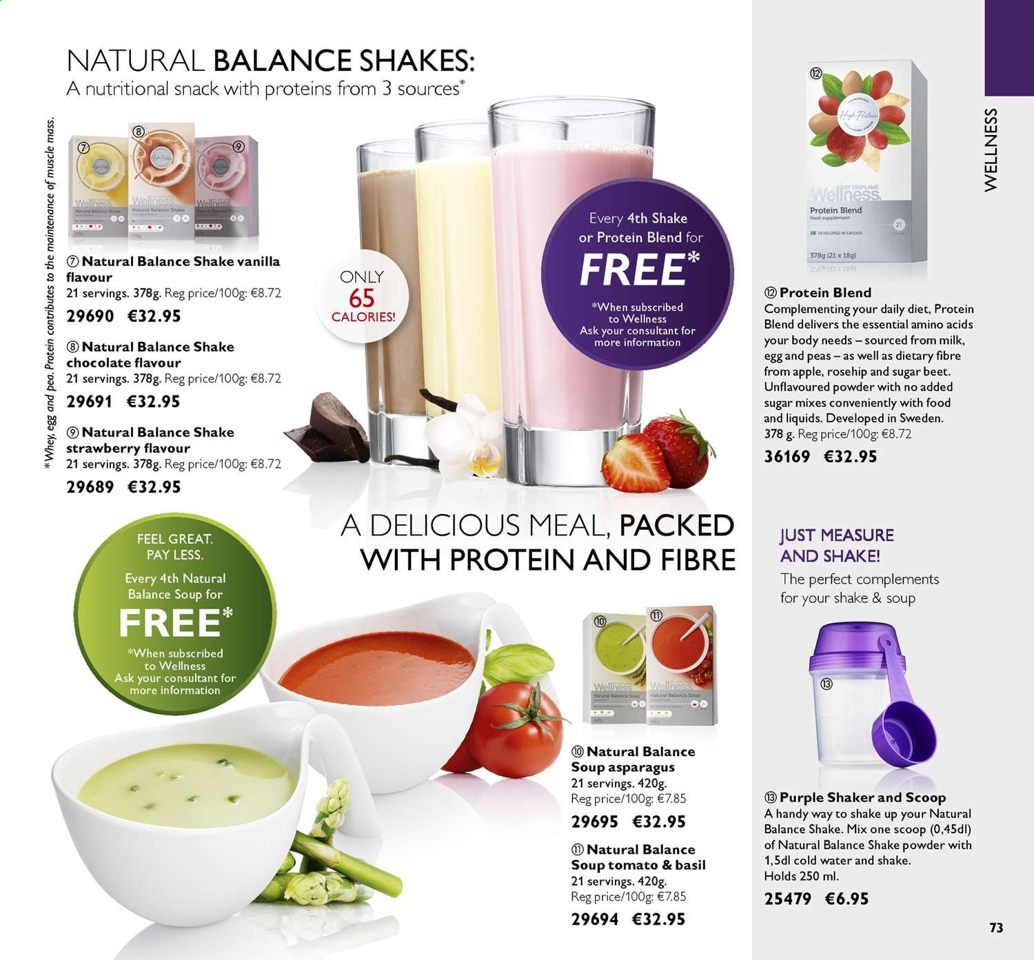 Oriflame offer  - 14.6.2019 - 4.7.2019 - Sales products - apple, asparagus, basil, beet, milk, sugar, powder, protein, peas, chocolate, soup, snack, strawberry. Page 73.