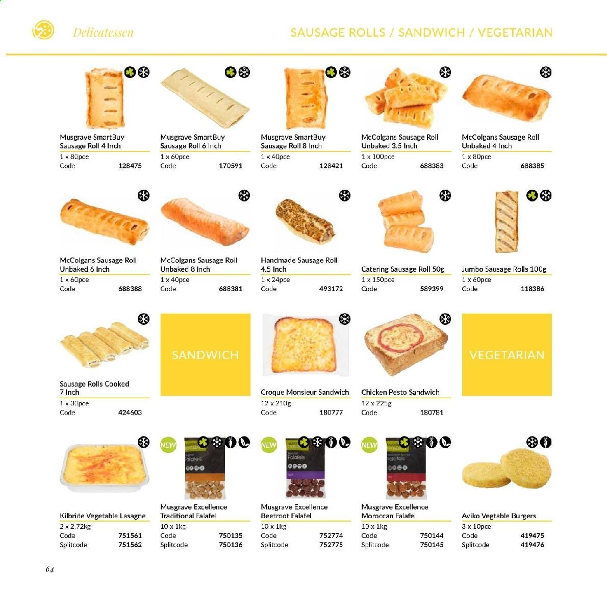 MUSGRAVE Market Place offer  - Sales products - vegetarian, sausage roll, rolls, sandwich, sausage, beetroot, lasagne, pesto, chicken. Page 67.