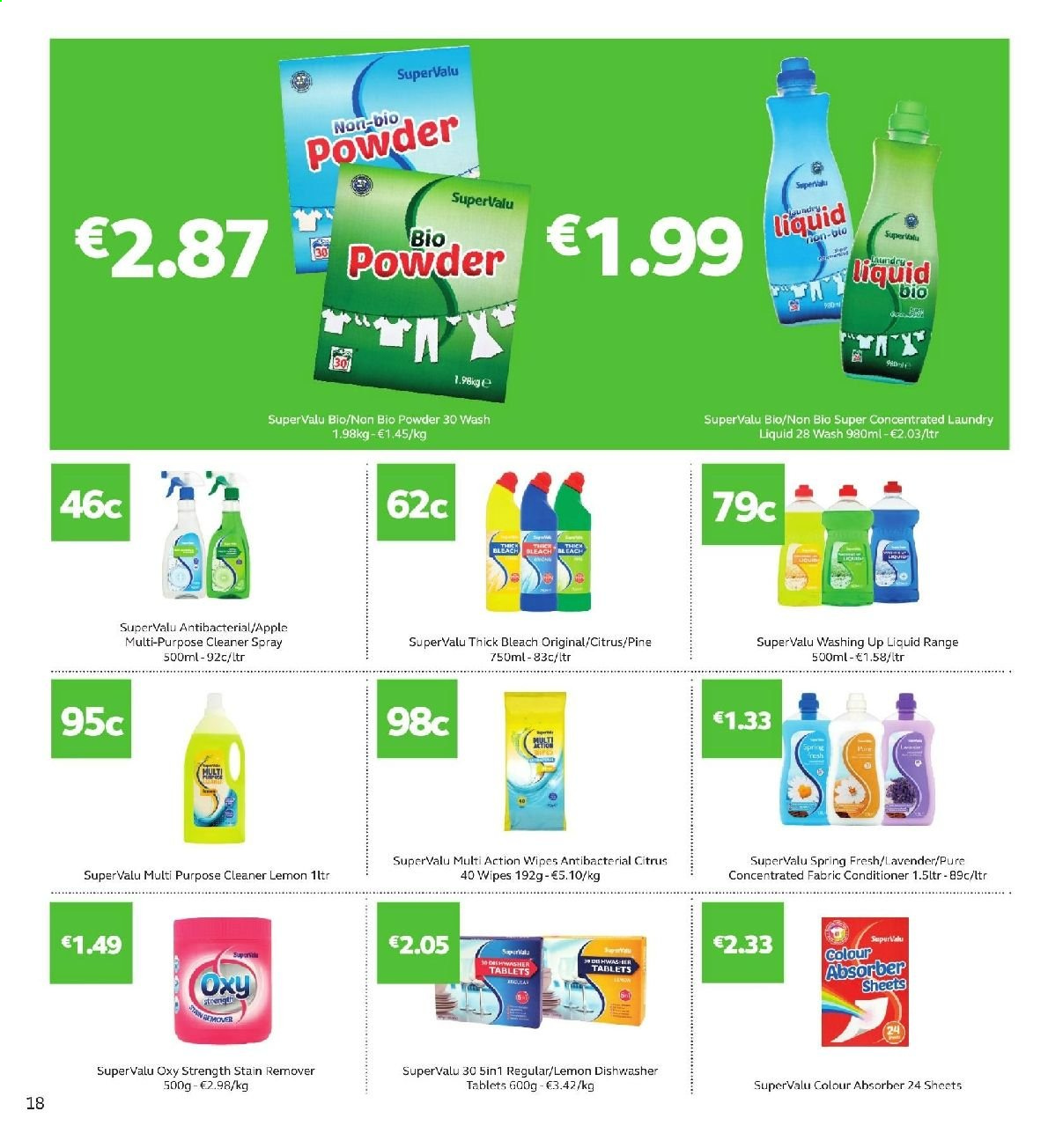 SuperValu offer  - 11.7.2019 - 24.7.2019 - Sales products - wipes, cleaner, stain remover, fabric conditioner, thick bleach, bleach, laundry detergent, dishwashing liquid, conditioner. Page 18.