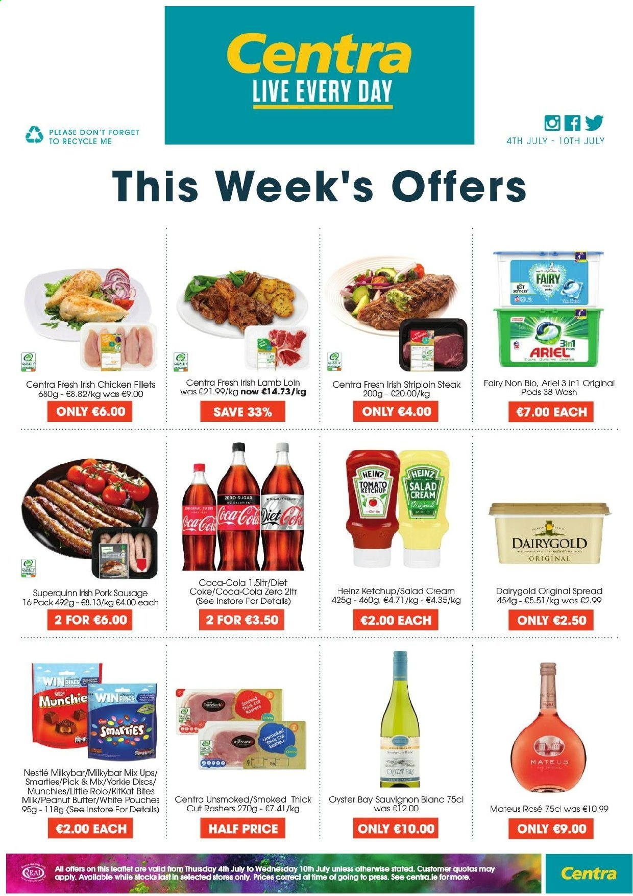Centra offer  - 4.7.2019 - 10.7.2019 - Sales products - bin, butter, coca-cola, cream, lamb loin, lamb meat, nestlé, sausage, heinz, ketchup, pork meat, pork sausage, chicken, peanut butter, peanuts, coca-cola light, steak, salad, ariel, smarties. Page 1.