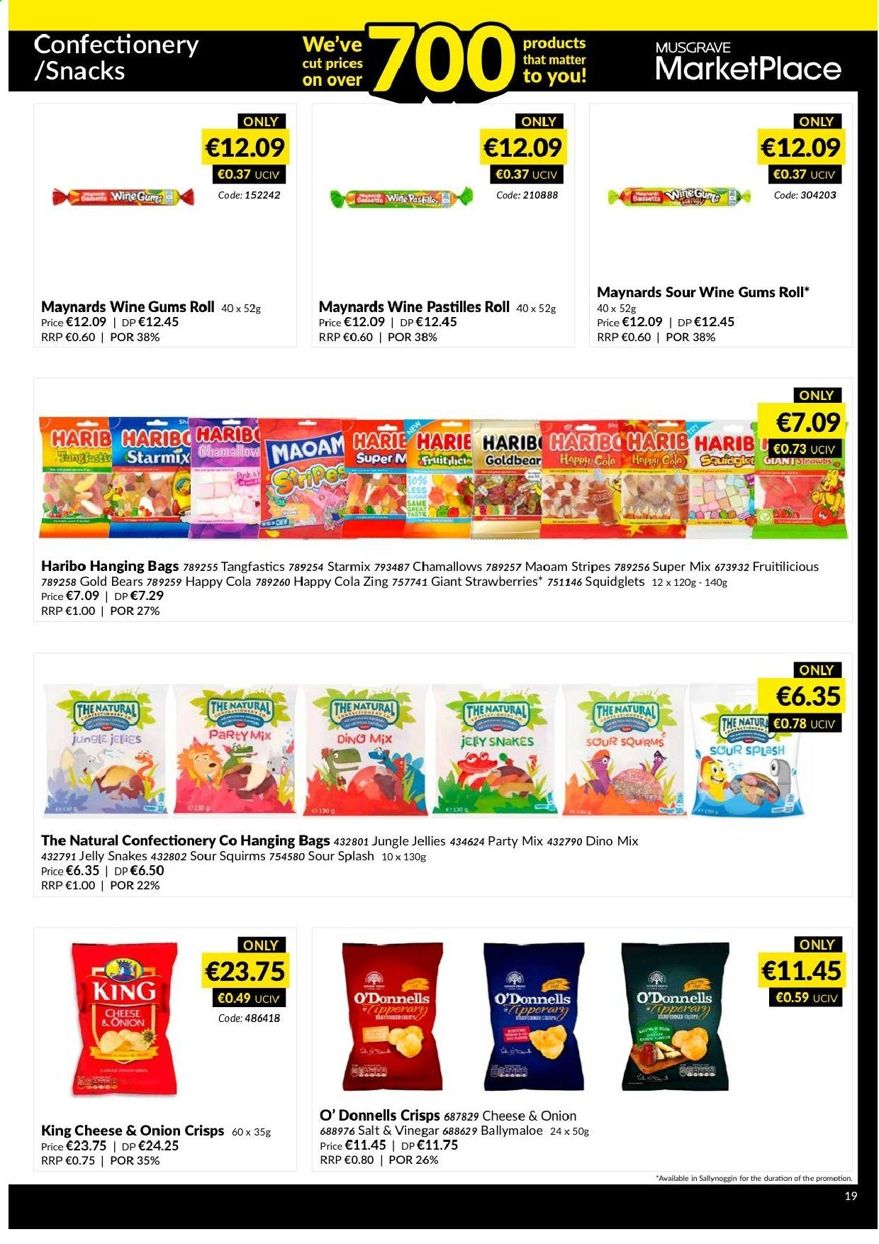 MUSGRAVE Market Place offer  - 4.8.2019 - 31.8.2019 - Sales products - bag, strawberries, vinegar, onion, cheese, salt, haribo, wine. Page 18.